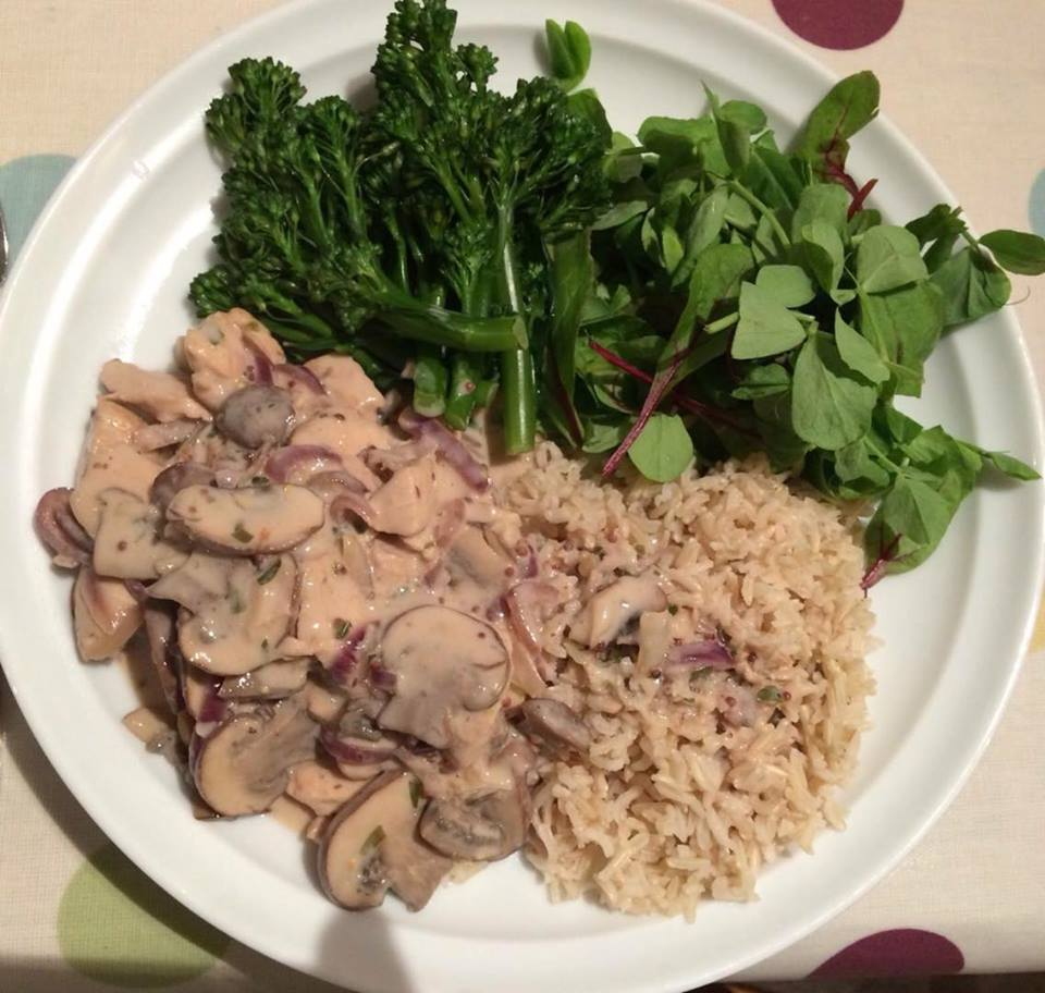 Chicken Stroganoff, brown rice & greens