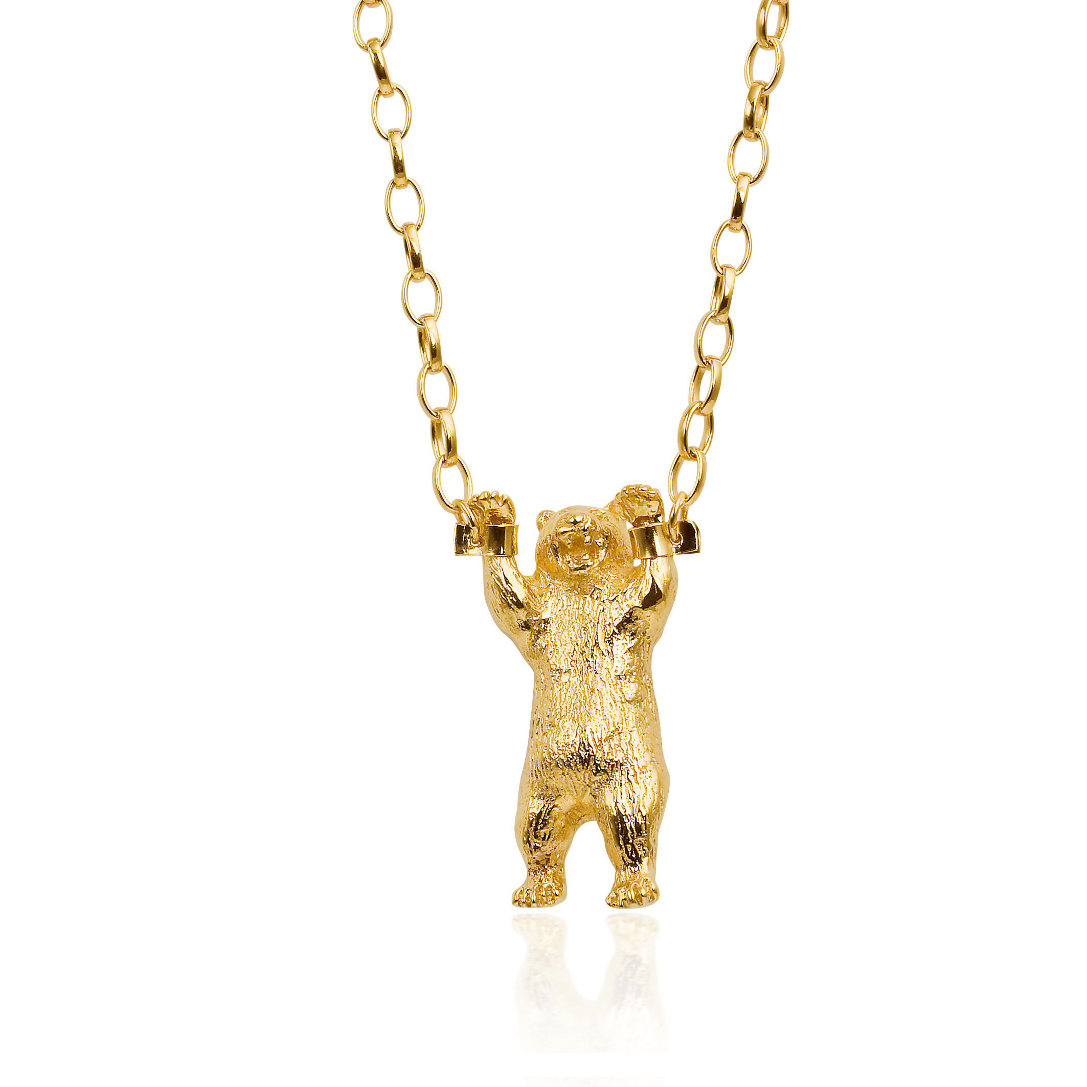 Momocreatura hand cuffed bear necklace gold.jpg