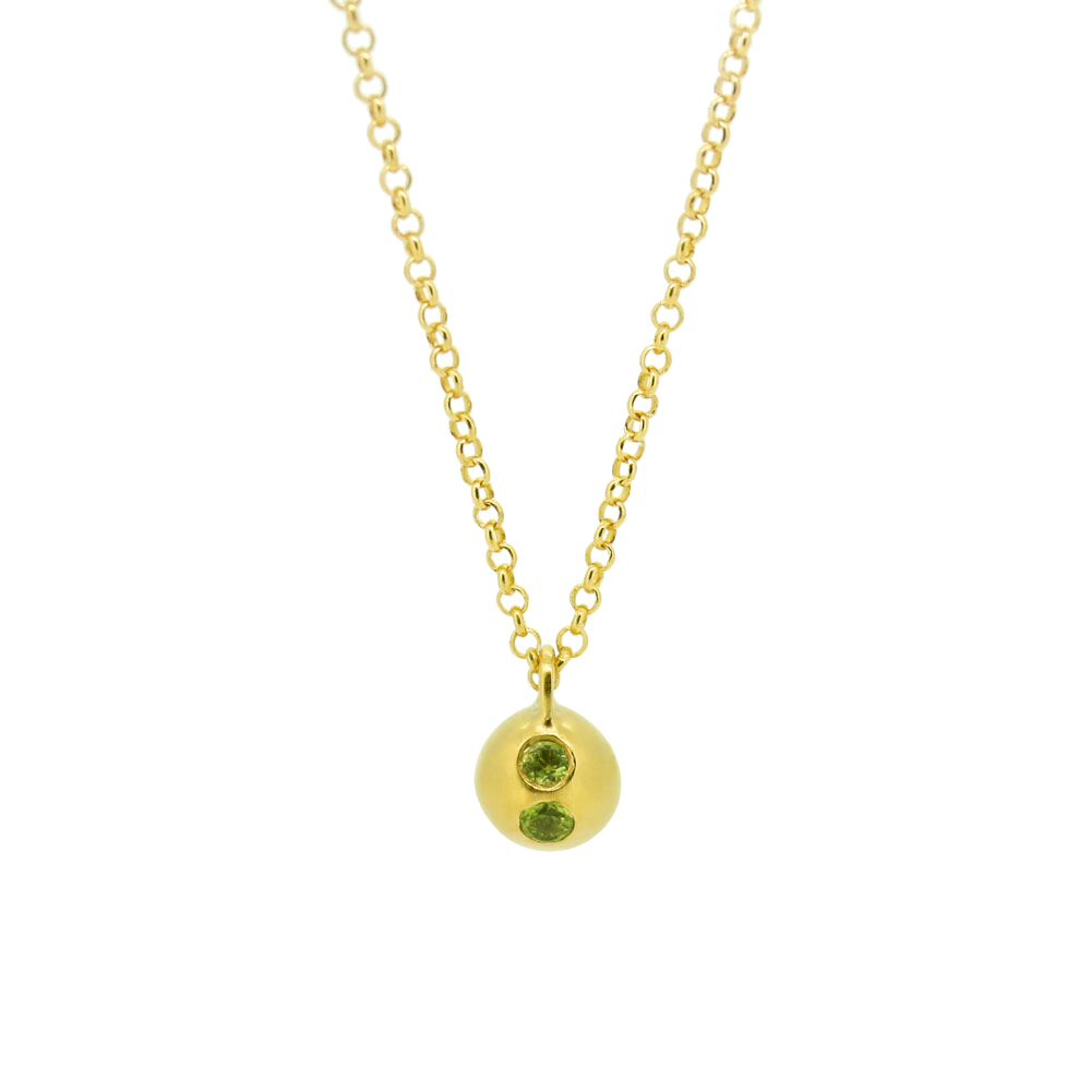 13. Mabel Hasell - Gold plated two stone Orb peridot necklace.jpg
