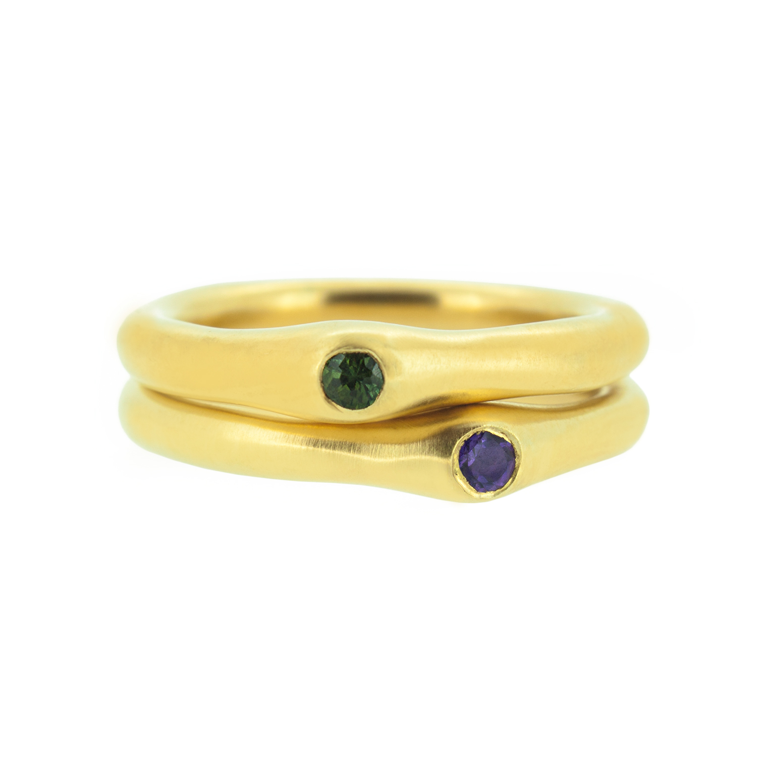 11. Mabel Hasell - Gold plated amethyst and tourmaline stack rings.jpg