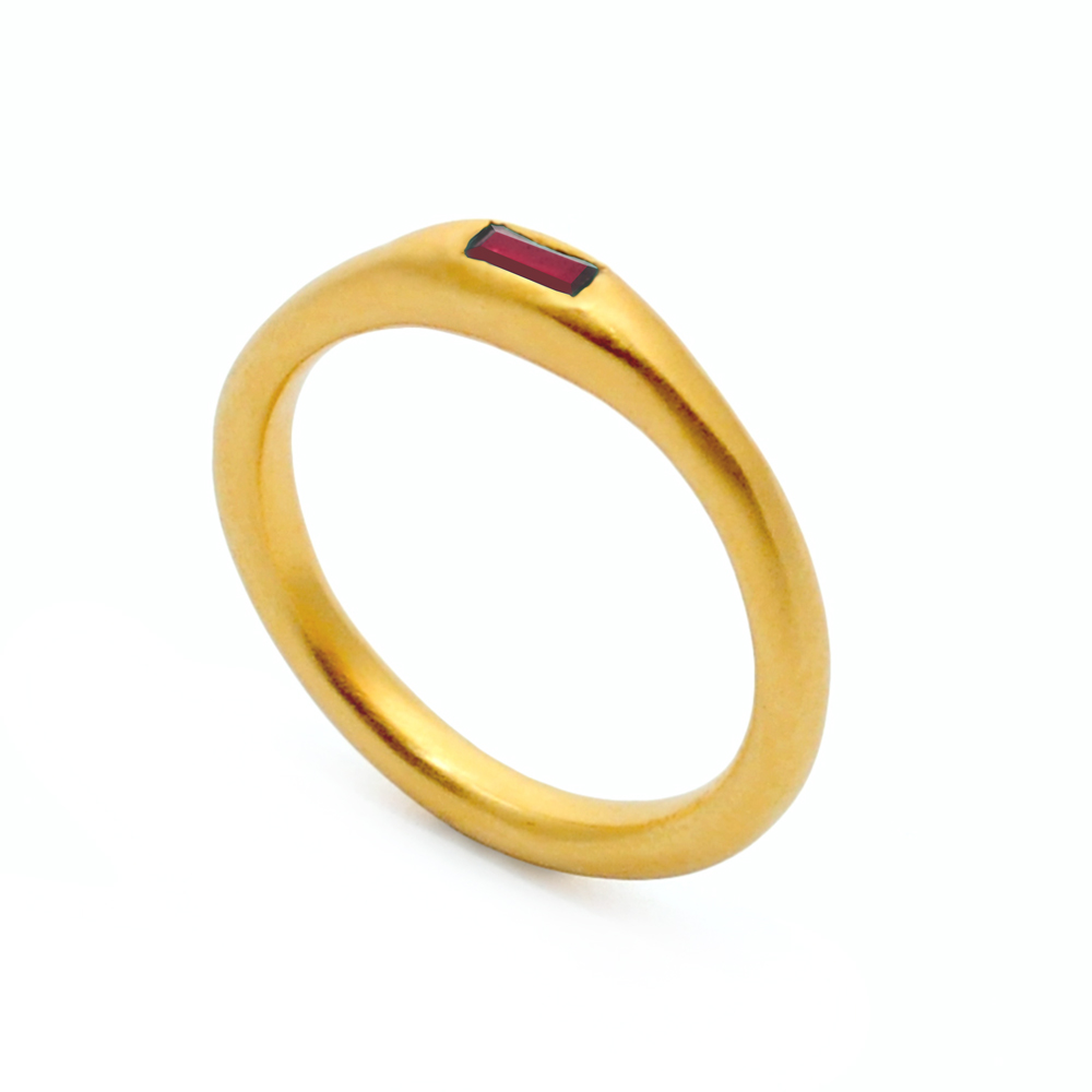 7. Mabel Hasell - Gold plated ruby baguette ring.jpg