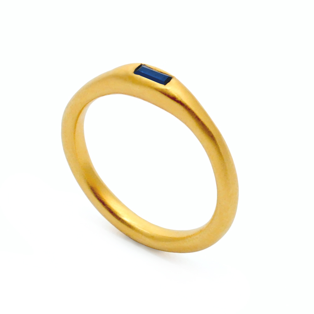 8. Mabel Hasell - Gold plated sapphire baguette ring.jpg
