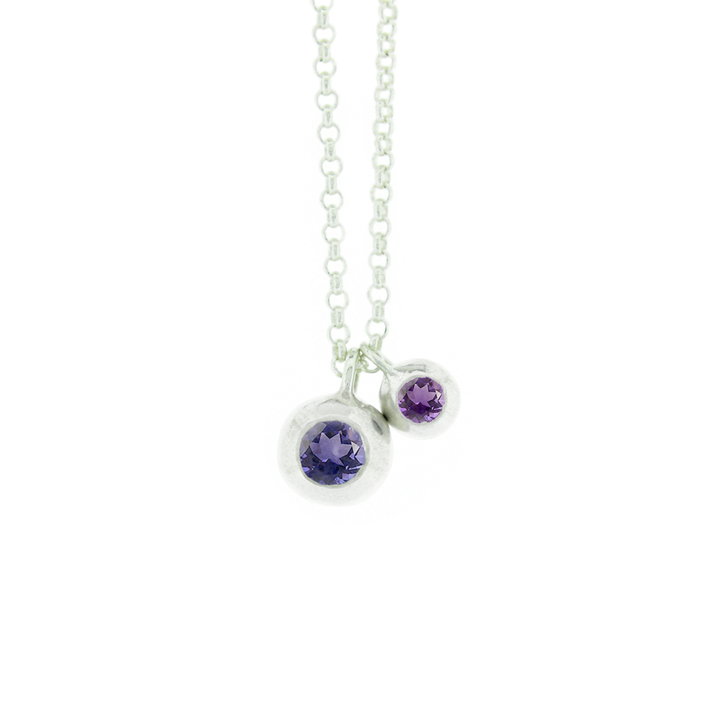 15. Mabel Hasell -Silver Amethyst and Iolite Double Orb Necklace.jpg