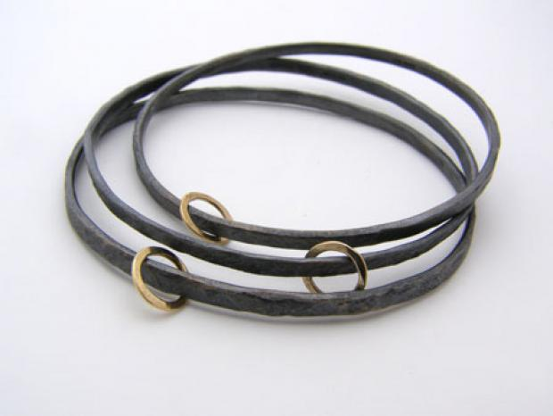 jane kenney Three Oxidised 'Gold Hoop' Bangles.jpg