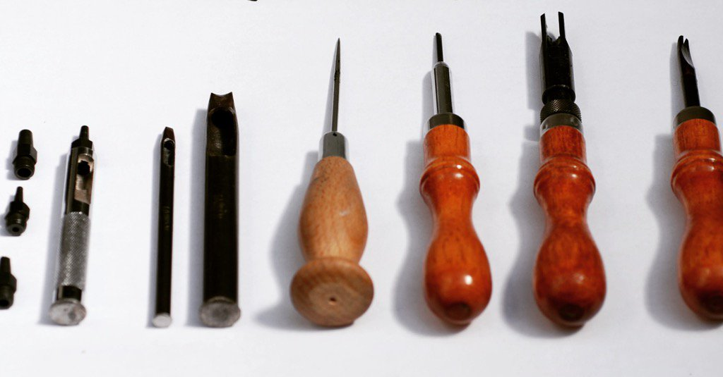 Hand tools used by Tania to create jewellery in Italian saddle leather