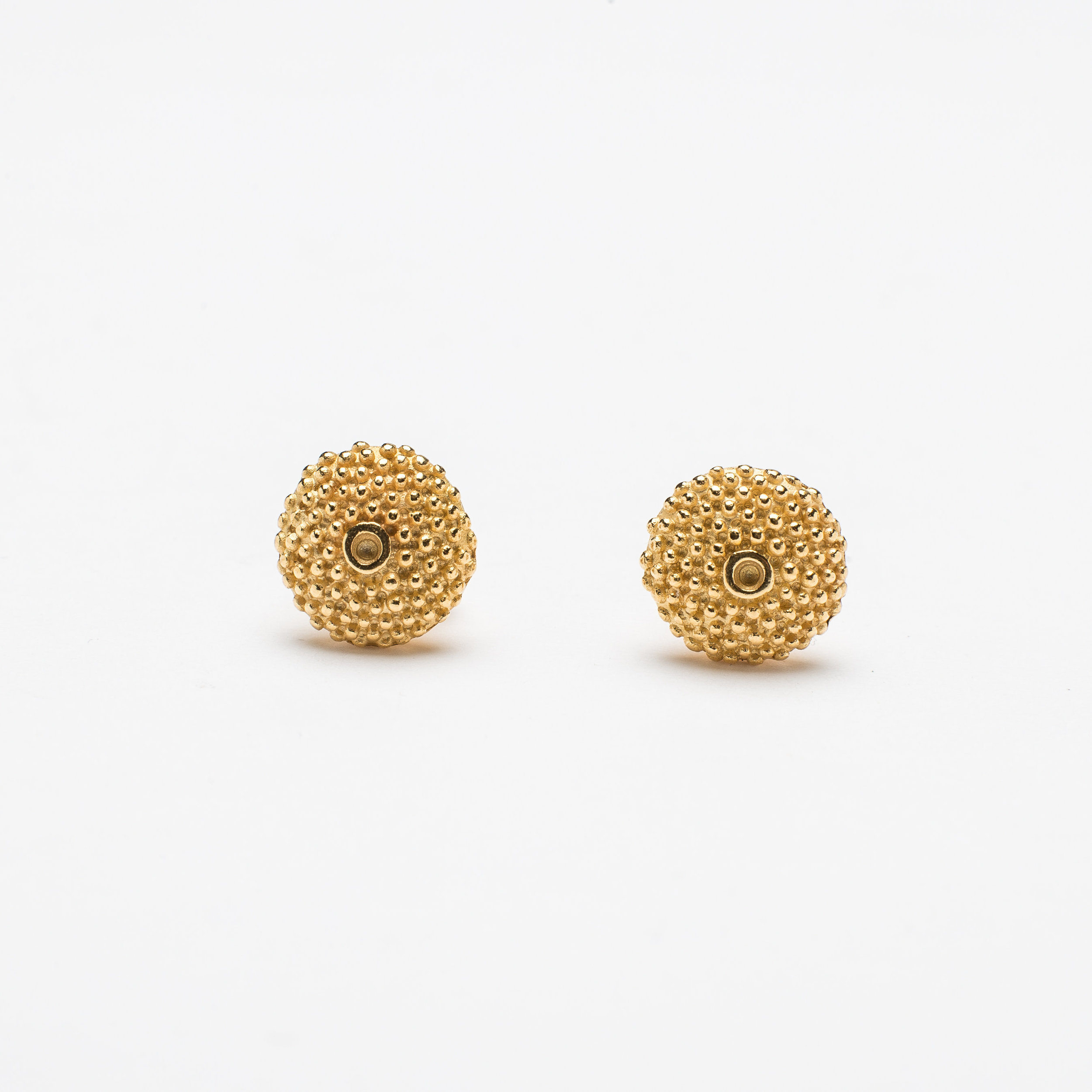 Catherine Hills Jewellery.Spot the Missing Stone Stud Earrings - Polished 22ct Gold Plated Silver  .jpg