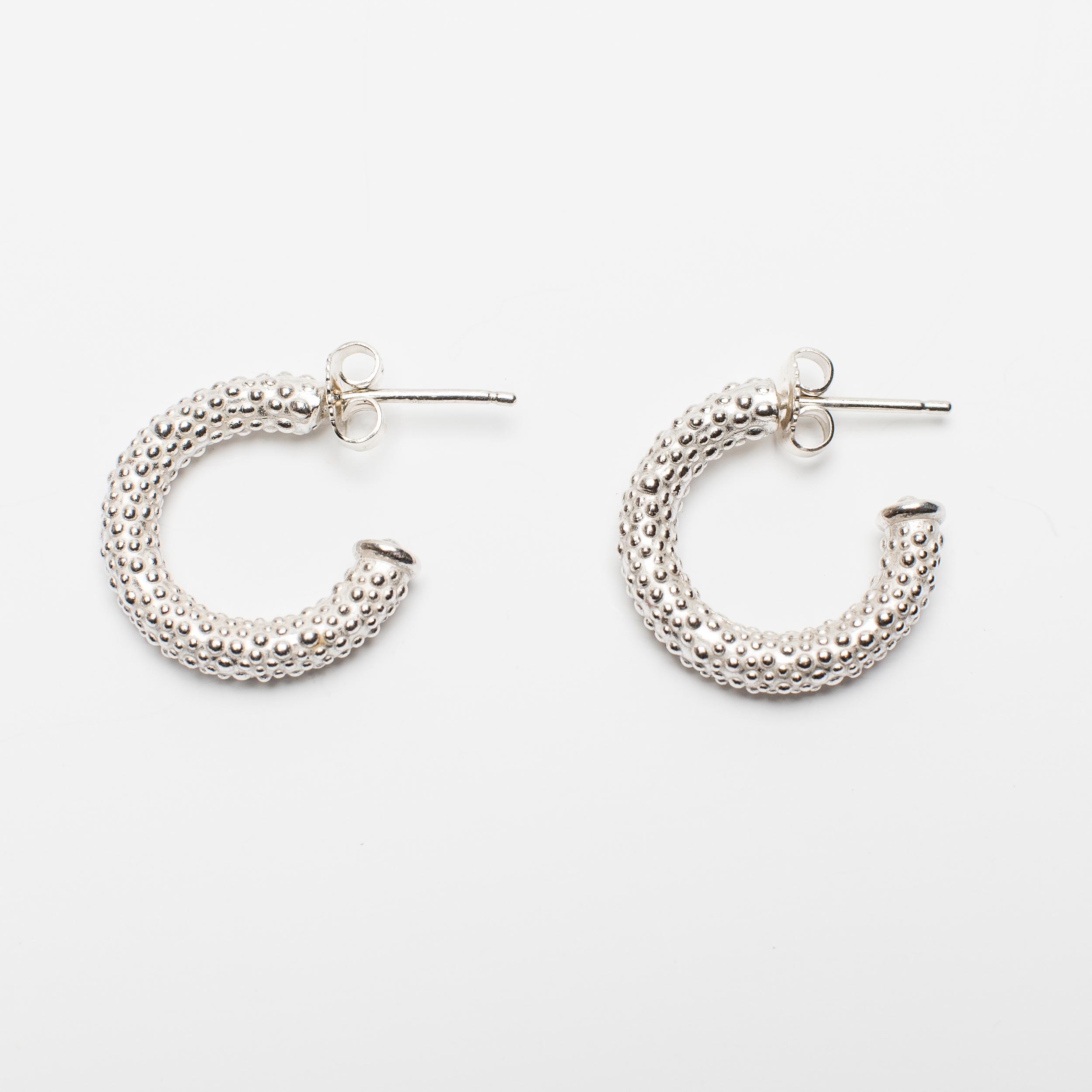 Catherine Hills Jewellery. Spotted Hoop Earrings -  Silver.jpg
