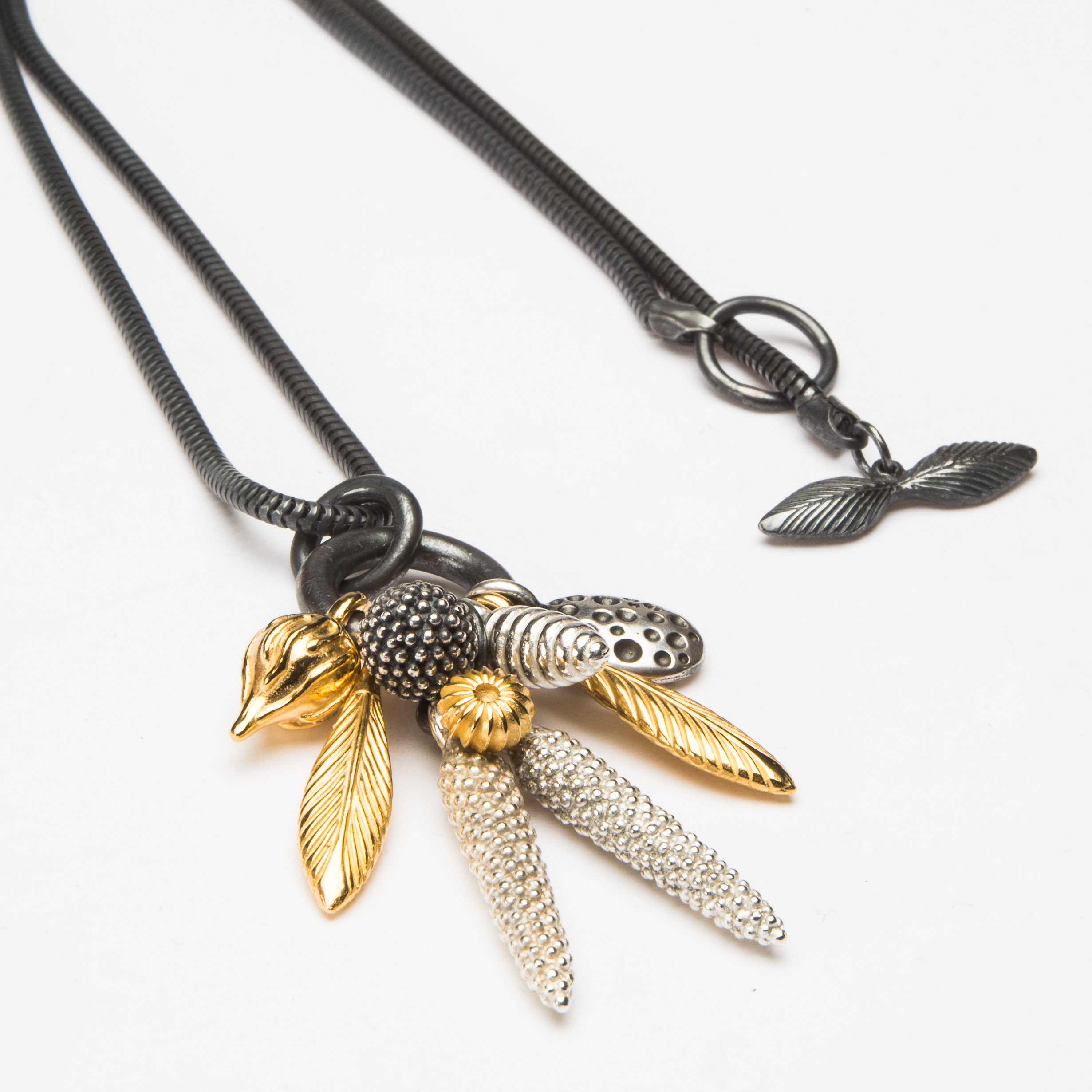 Catherine Hills Jewellery.  Dream Catcher Feather Cluster Pendant - Oxidised Silver, Silver and Gold Plated Silver  .jpg