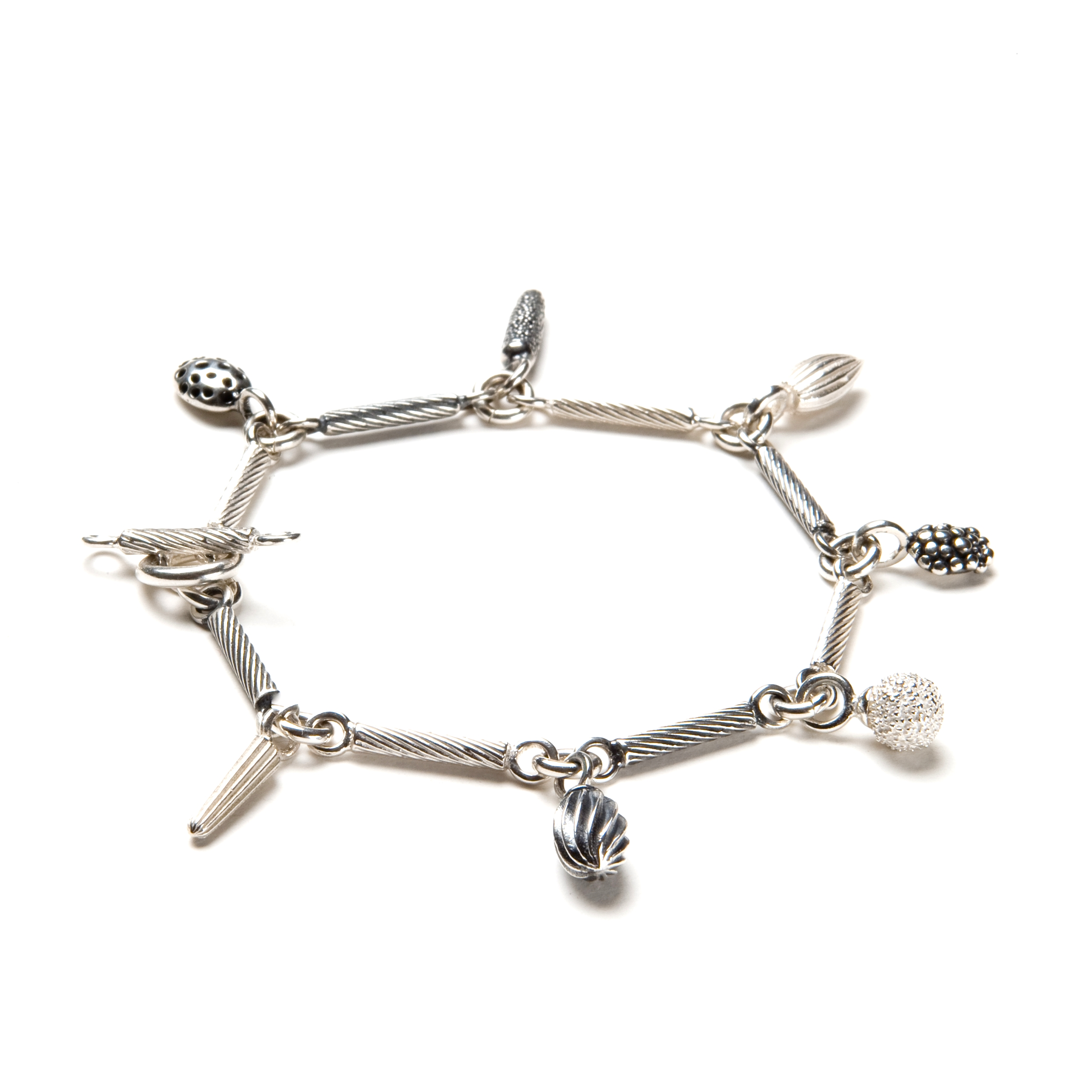 Catherine Hills Jewellery.Striped Link Bracelet with 7 Charms - Alternate Silver and Oxidised Silver Twisted Links with Silver and Oxidised Silver Charms  .jpg