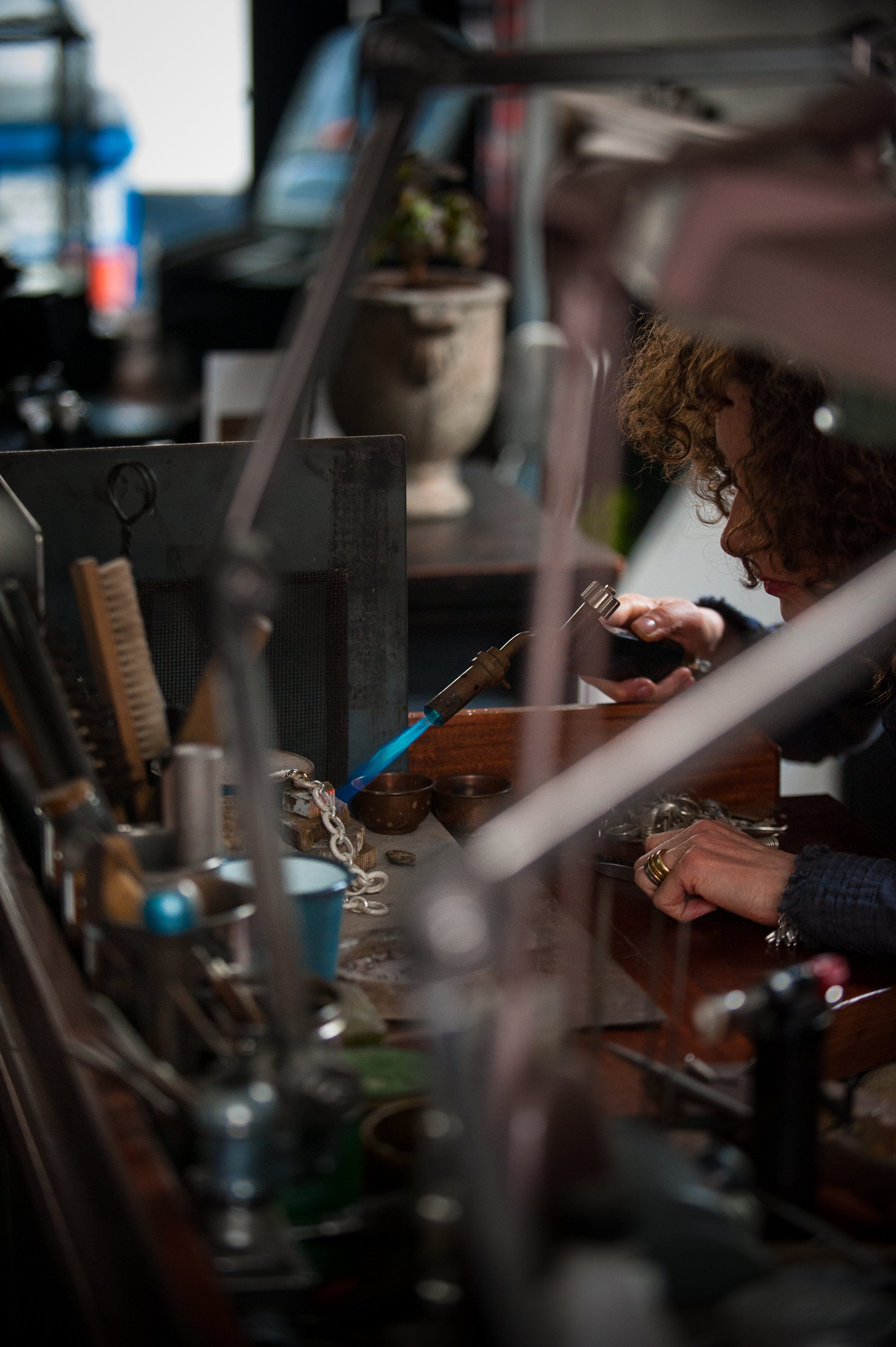 Catherine in her workshop