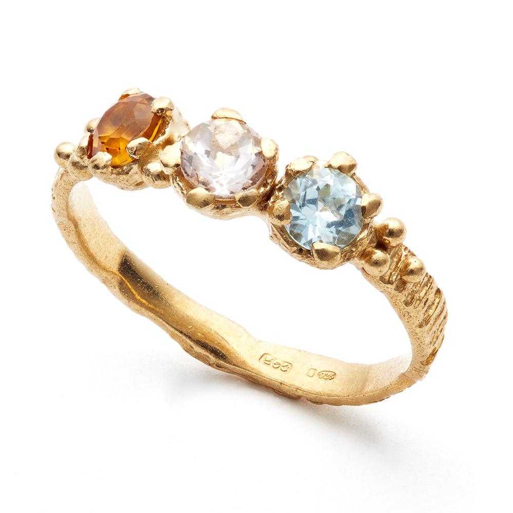 Sunbark trio ring aquamarine, morganite citrine silver gold plated eily oconnell.jpg