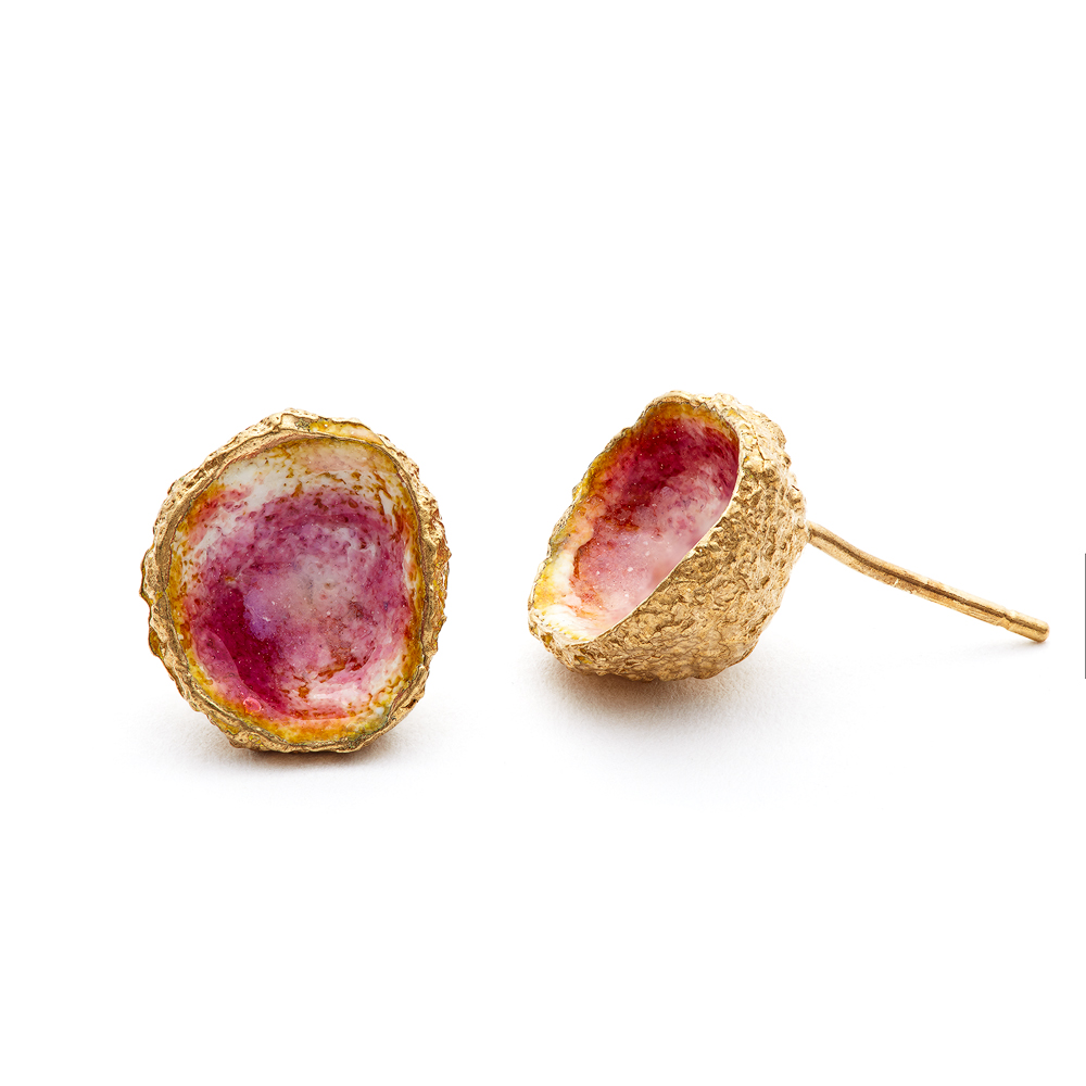 pink enamel acorn earrings pink gold plated eily oconnell.jpg