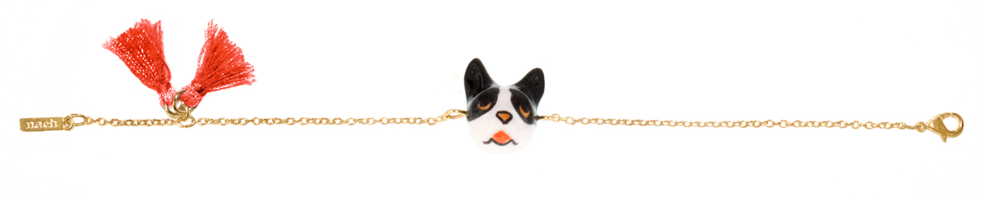 nach bijoux  D052 French Bulldog pompom bracelet.jpg