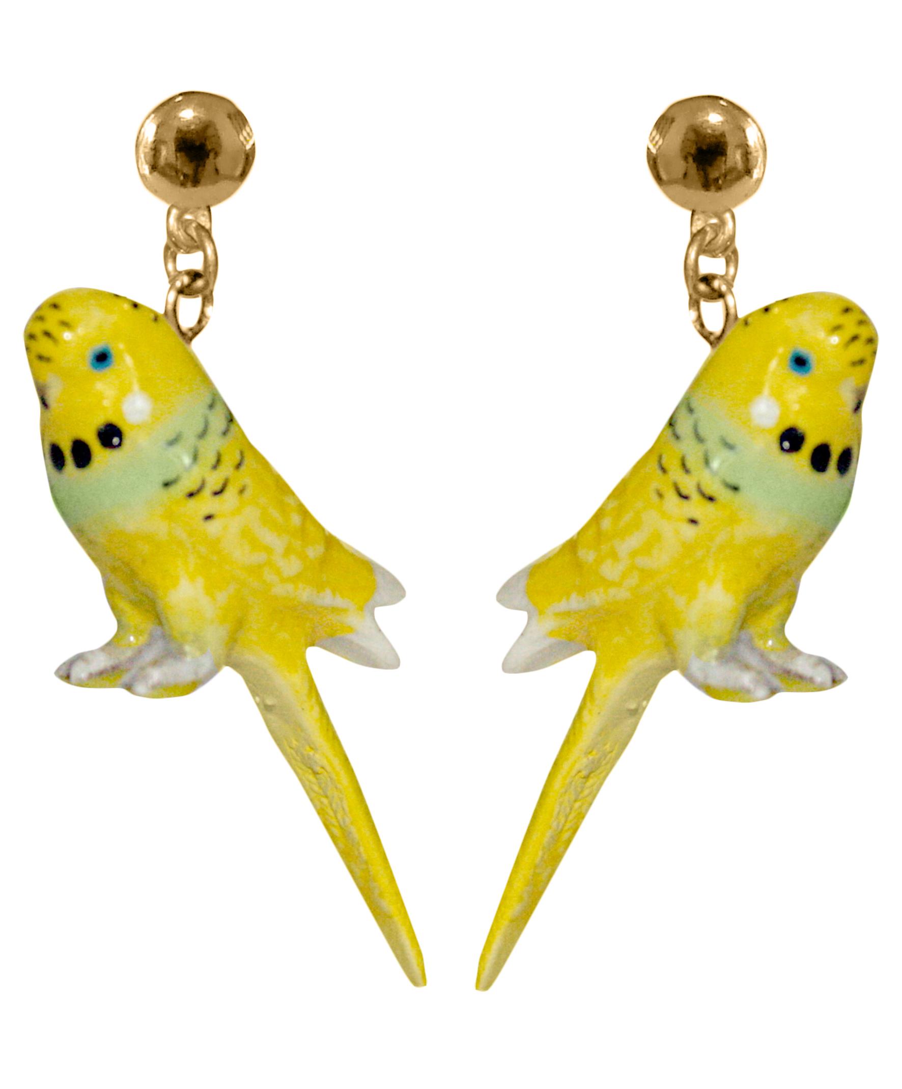 nach bijoux  J005 Yellow Budgeriar Bird Earrings.jpg