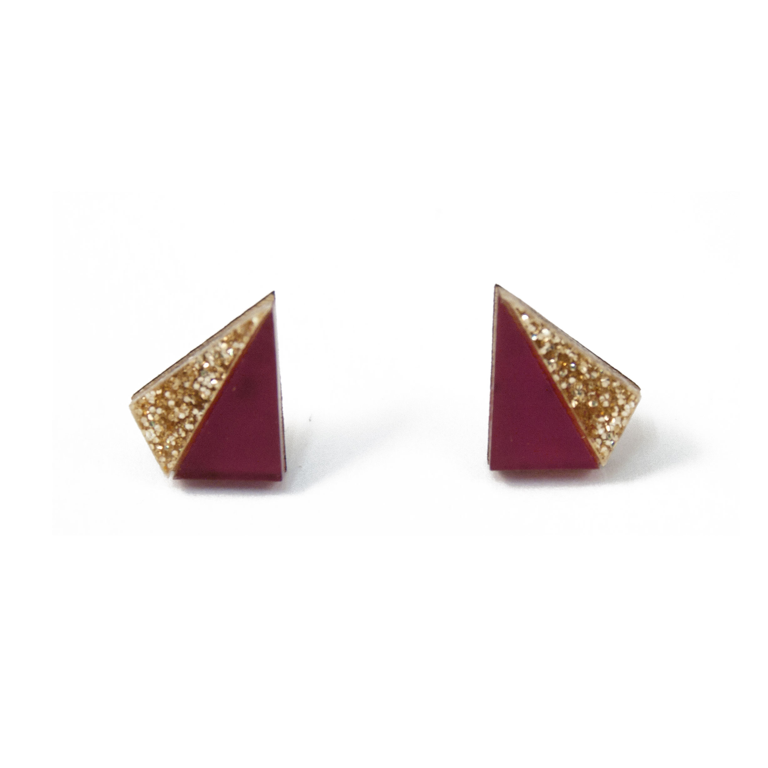 Wolf & Moon Little Pyramid Studs Plum_Gold Glitter.jpg