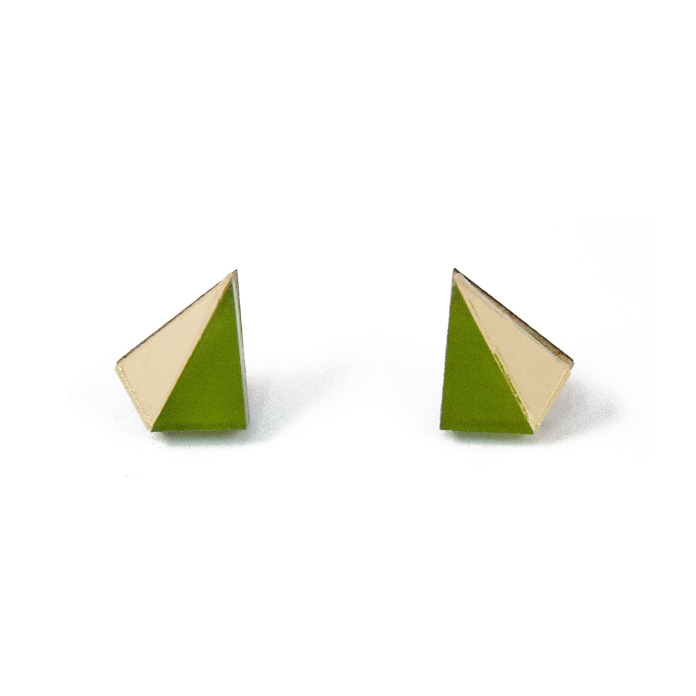 Wolf & Moon Little Pyramid Studs Olive_Gold.jpg