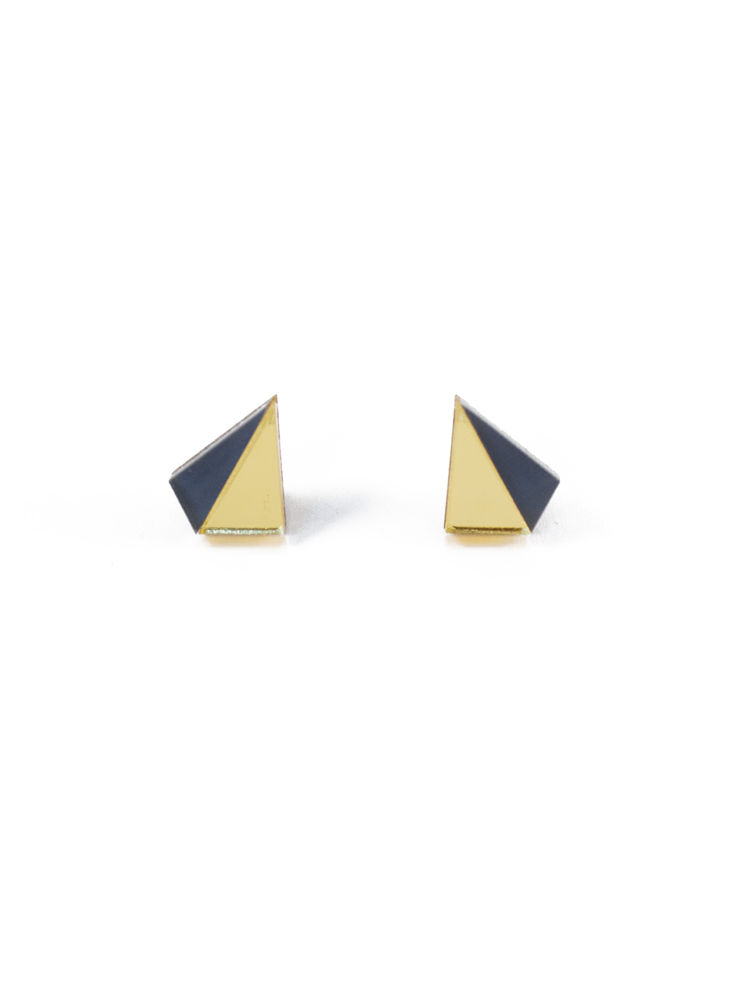 Wolf & Moon Little Pyramid Studs Gold_Navy.jpg