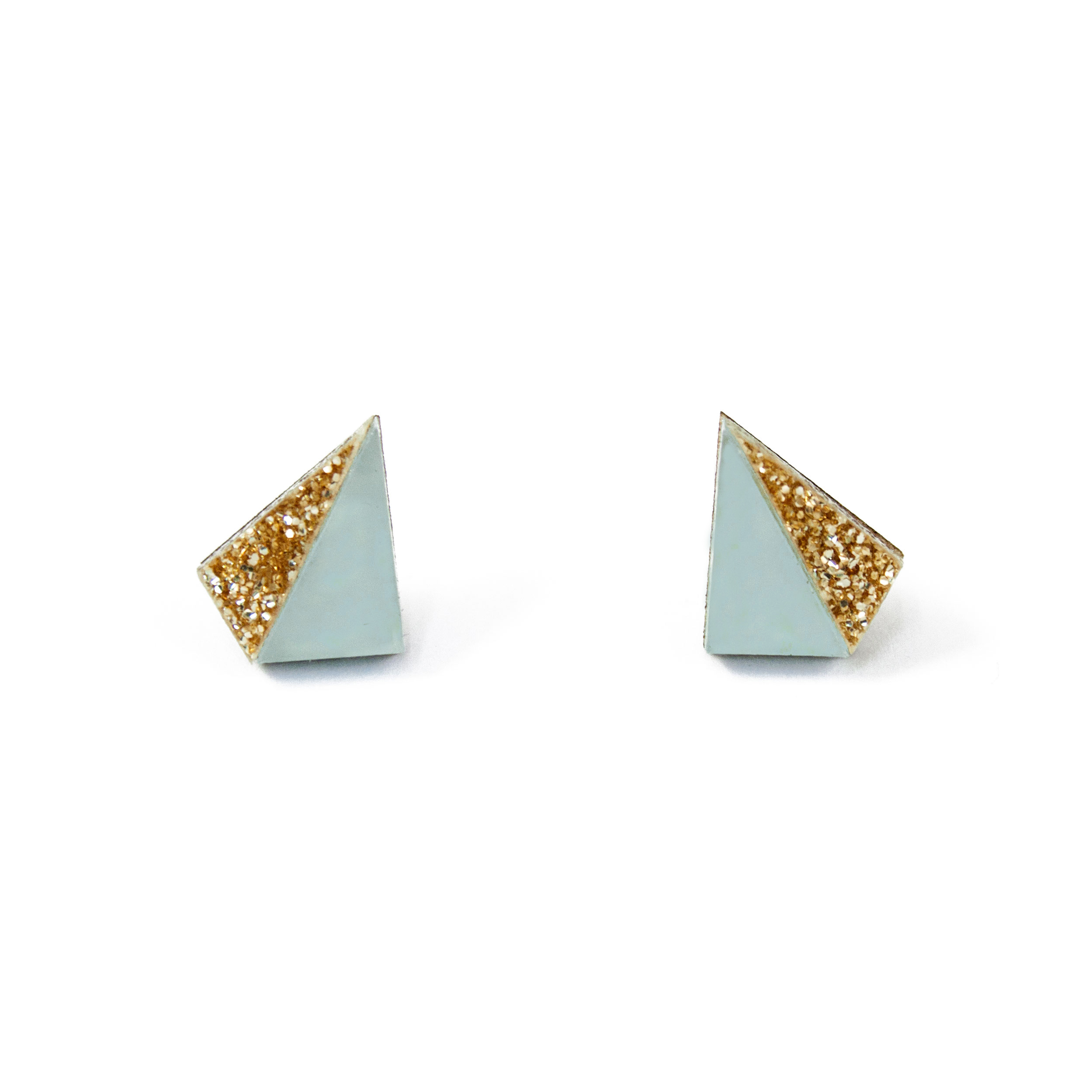 Wolf & Moon Little Pyramid Studs Pale Blue_Gold Glitter.jpg