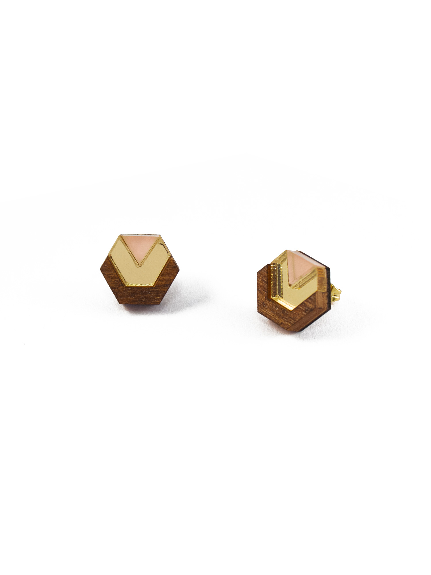 Wolf & Moon Little Hex Studs Wood_Gold_Peach.jpg