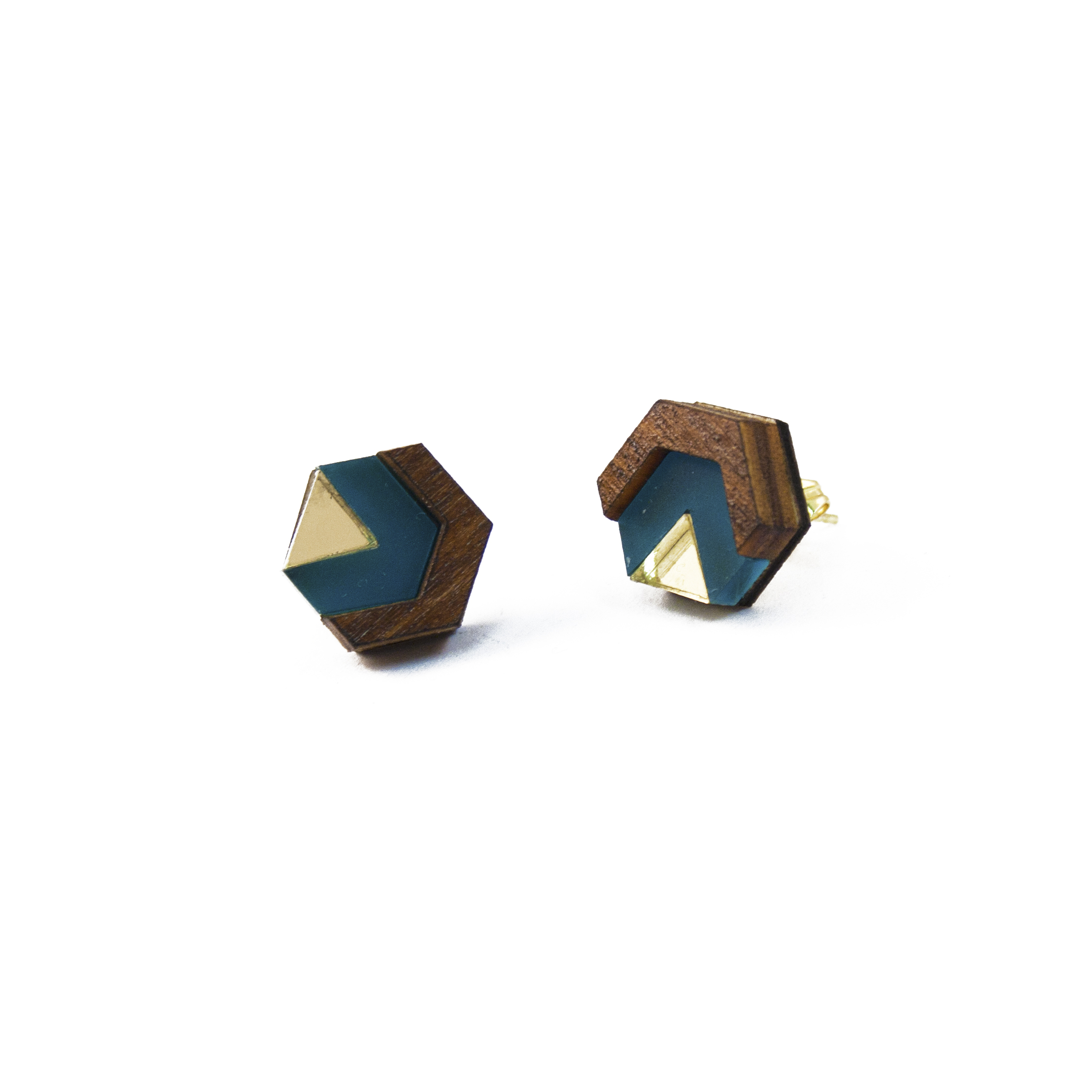 Wolf & Moon Little Hex Studs Wood_Teal_Gold.jpg