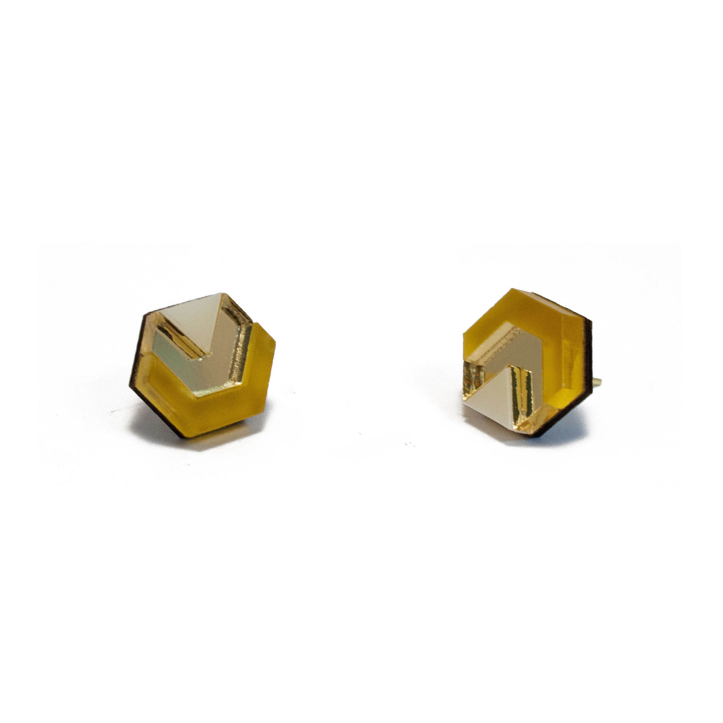 Wolf & Moon Little Hex studs Saffron_Gold_Cream.jpg