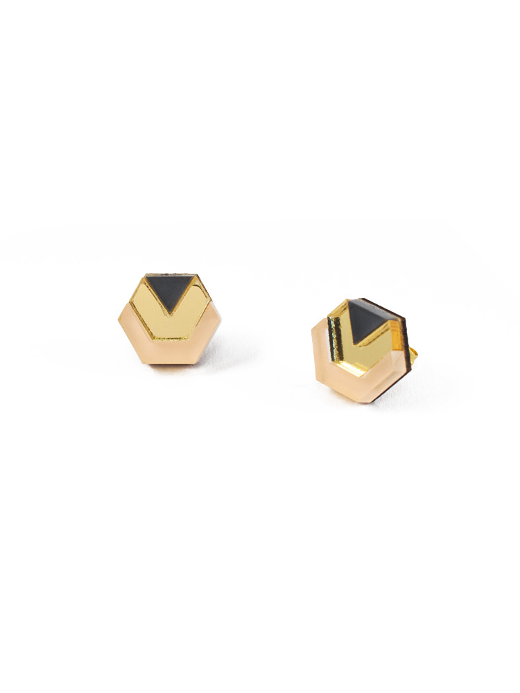 Wolf & Moon Little Hex Studs Peach_Gold_Navy.jpg