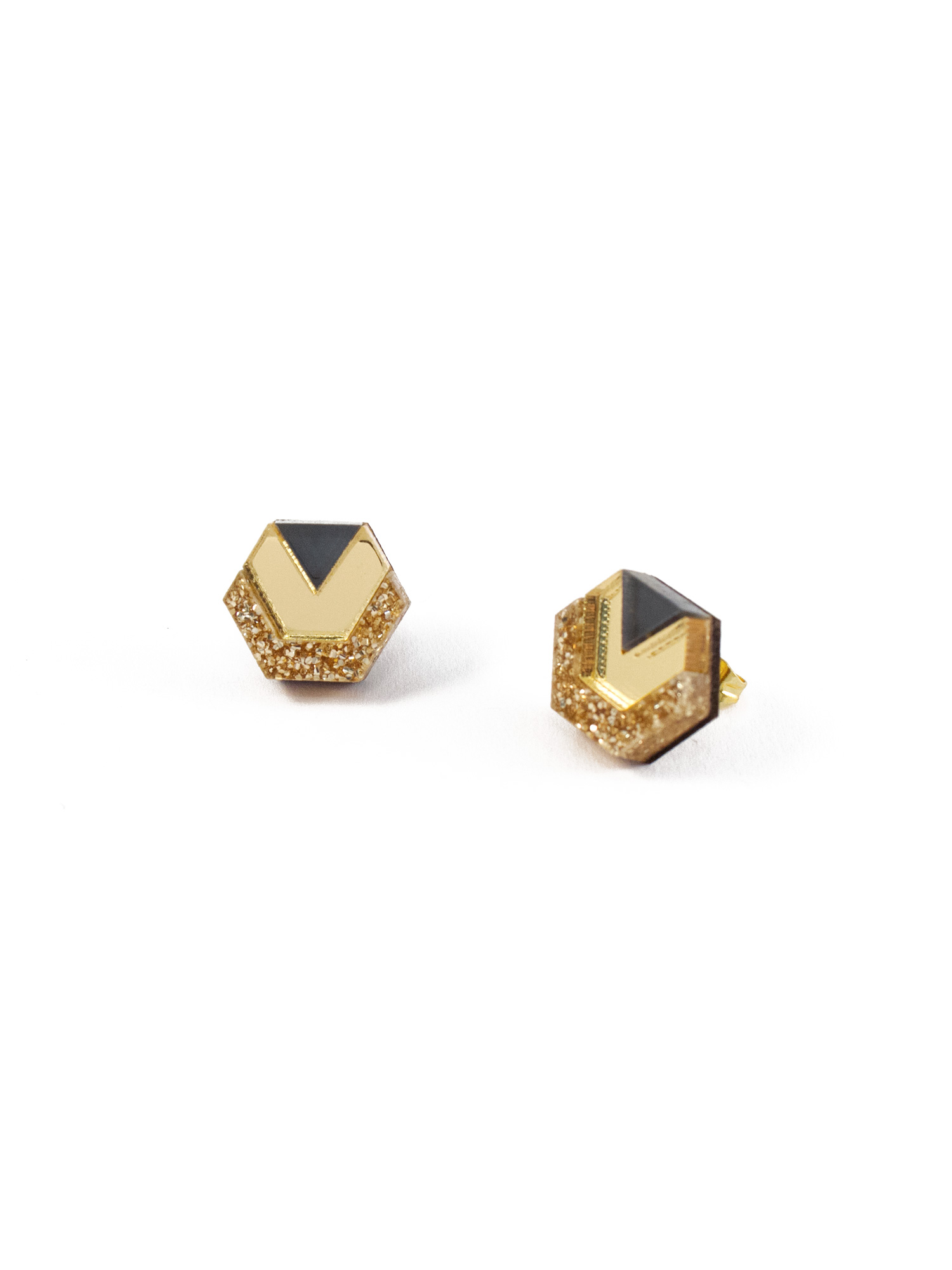 Wolf & Moon Little Hex Studs Gold Glitter_Gold_Navy.jpg