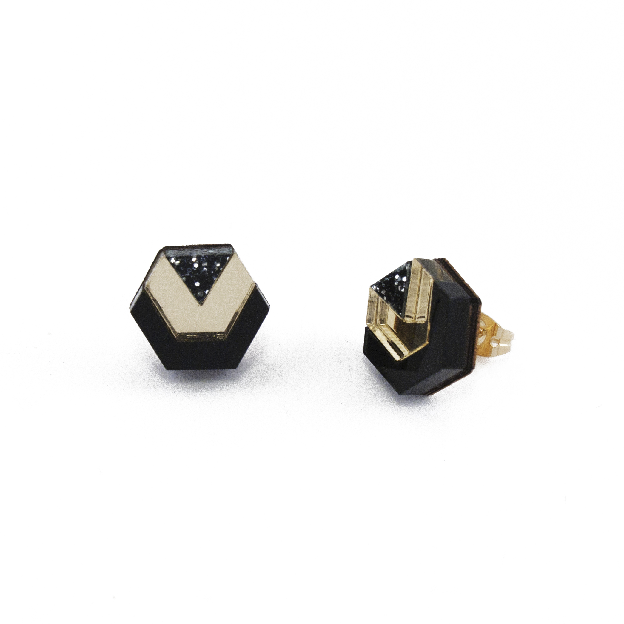 Wolf & Moon Little Hex Studs Black_Gold_Black Glitter.jpg