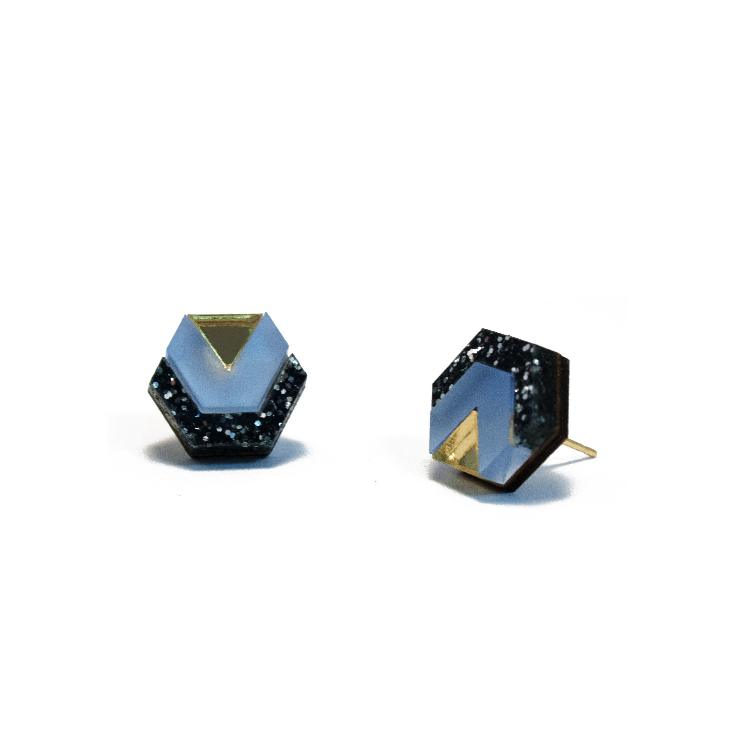 Wolf & Moon Little Hex Studs Black Glitter_Lavender Blue_Gold.jpg