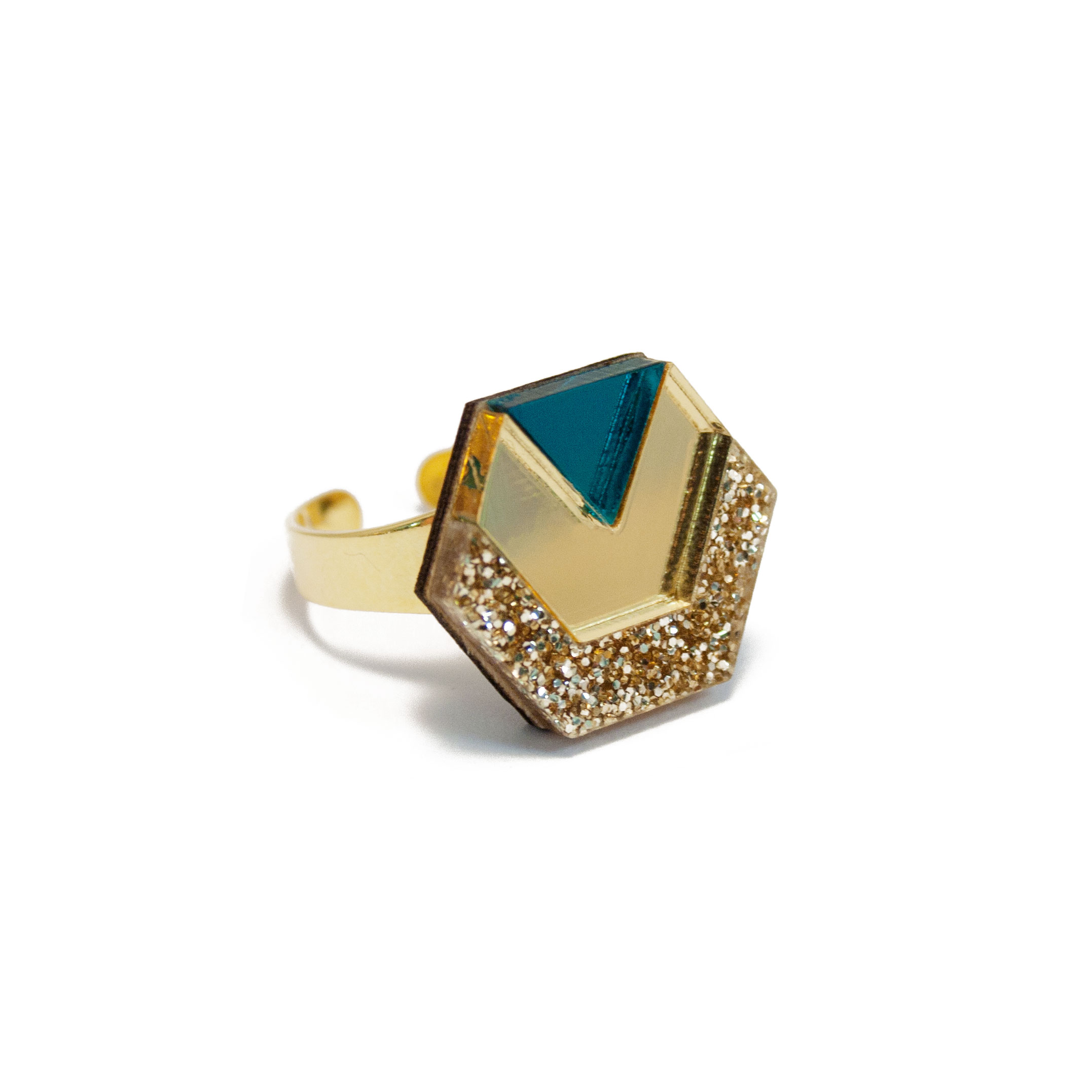 Wolf & Moon Hex Ring Gold Glitter_Gold_Teal.jpg
