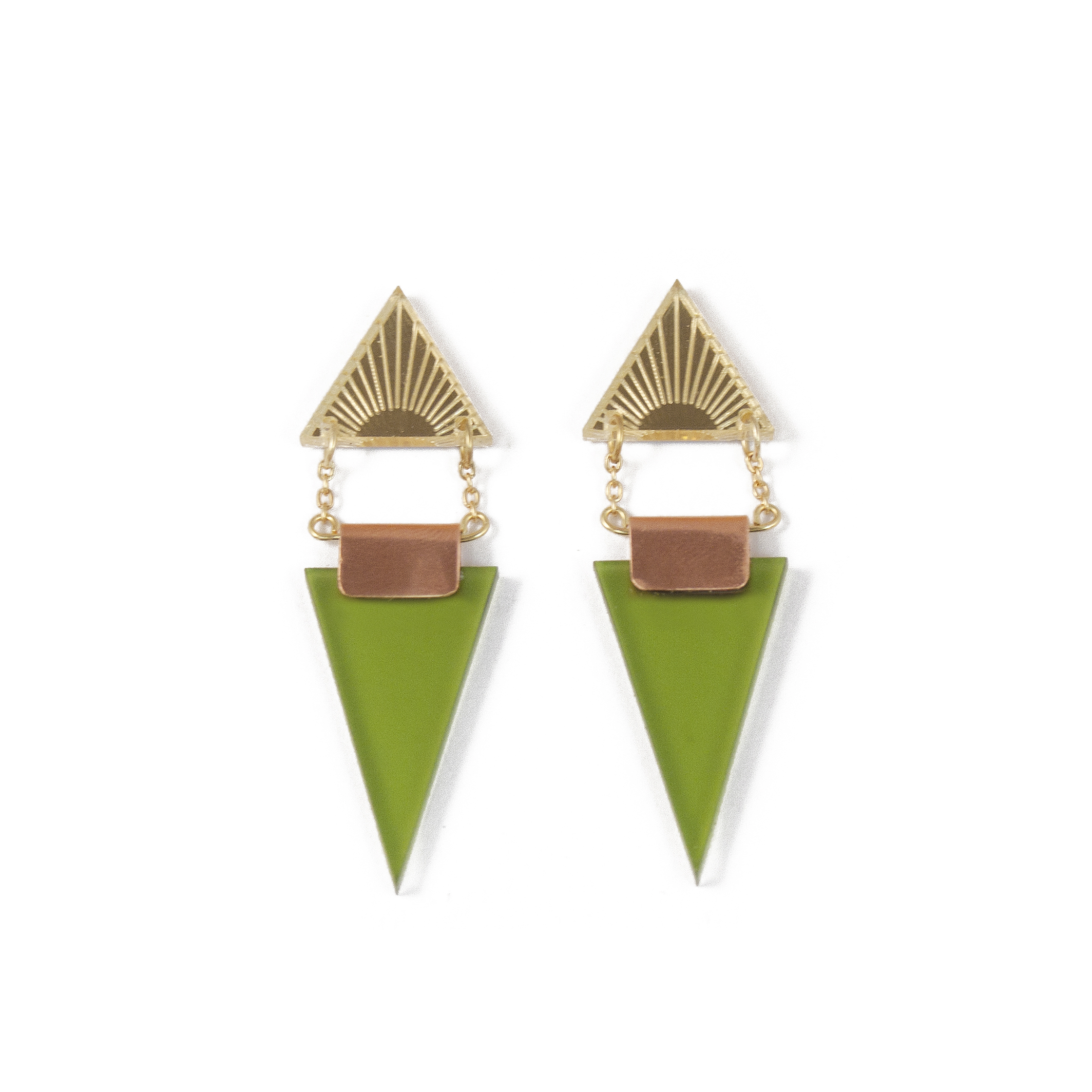 Wolf & Moon Double Triangle Earrings Gold_Olive.jpg