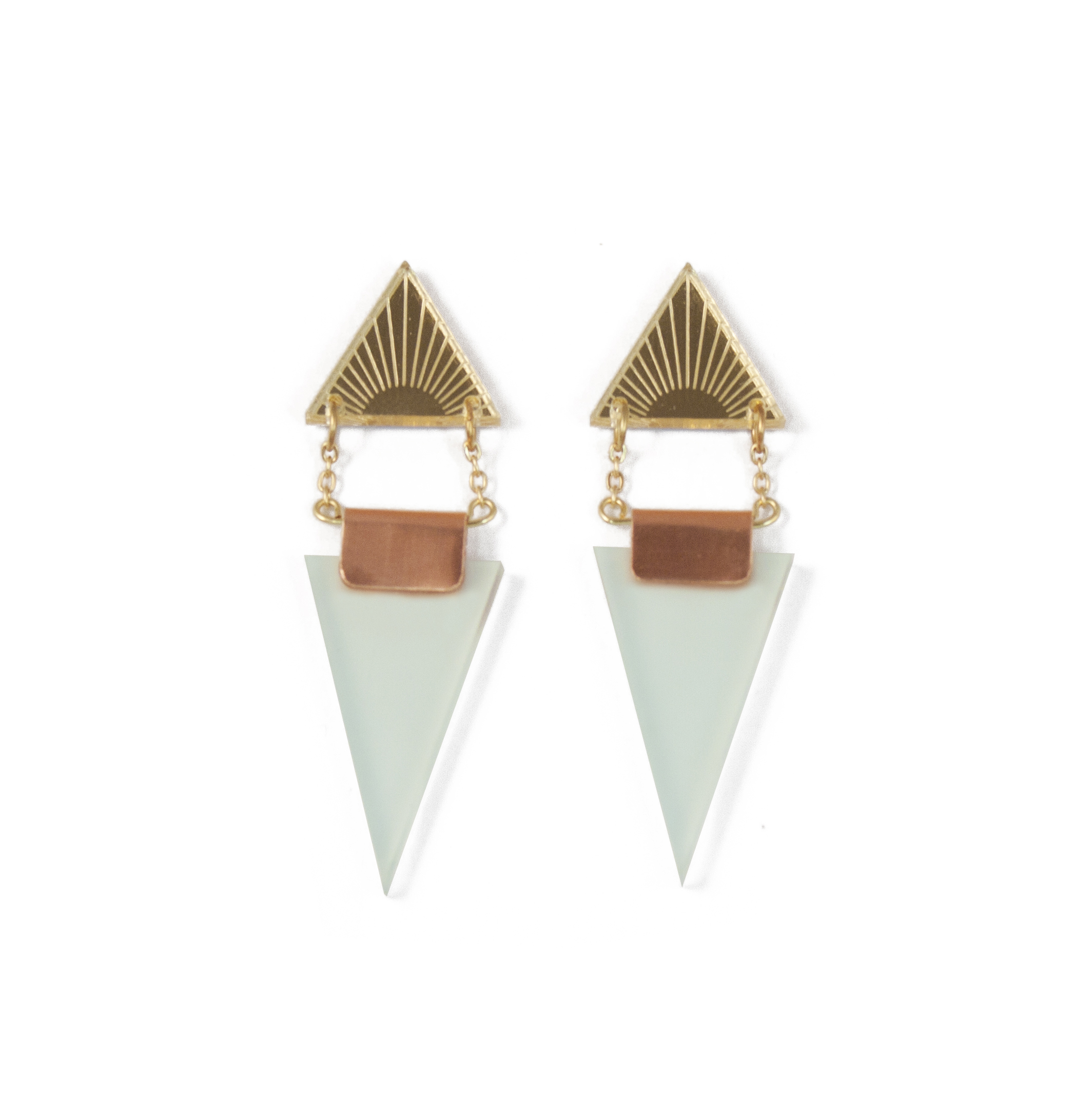 Wolf & Moon Double Triangle Earrings Gold_Mint.jpg