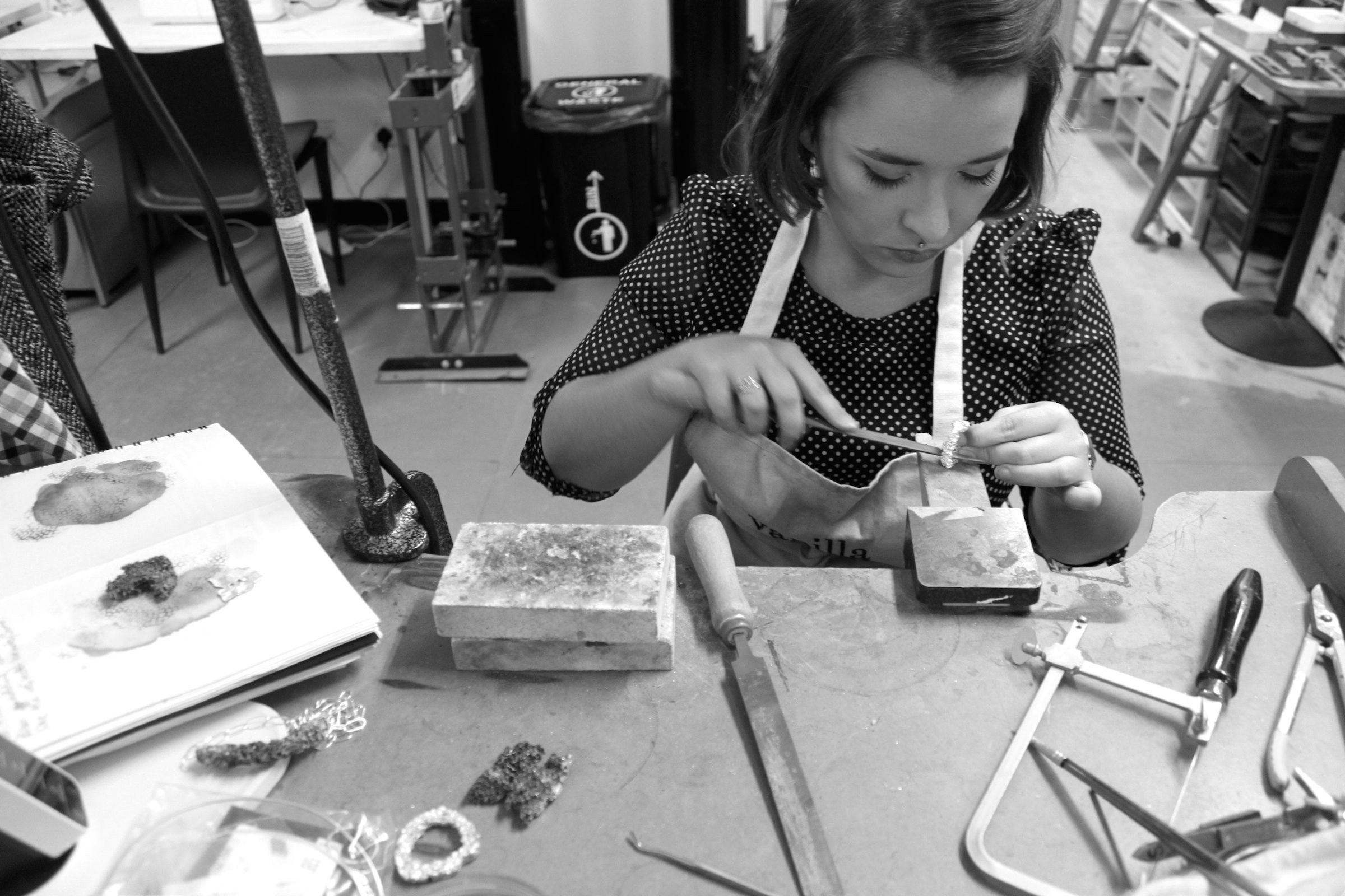 Sophie making her pieces in the workshop
