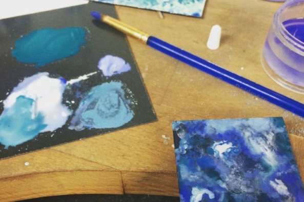 Sophie experiments with enamels