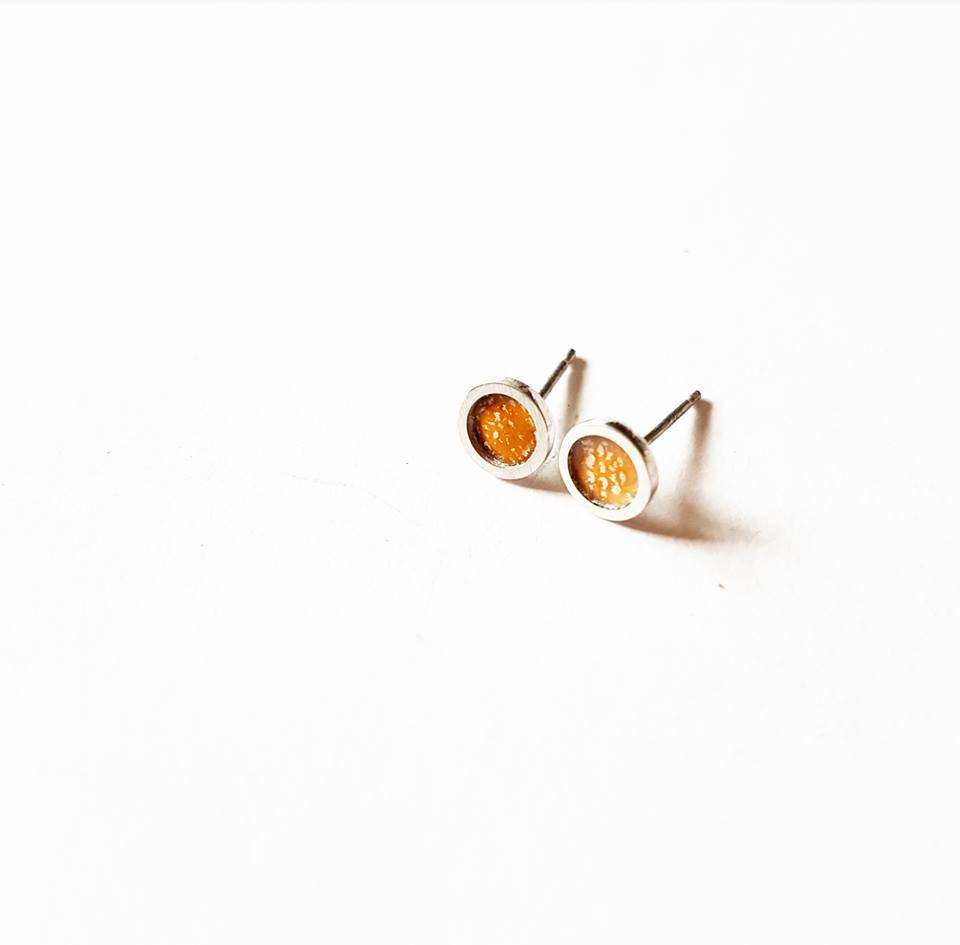 emily higham Framed circular enamel studs in orange.jpg