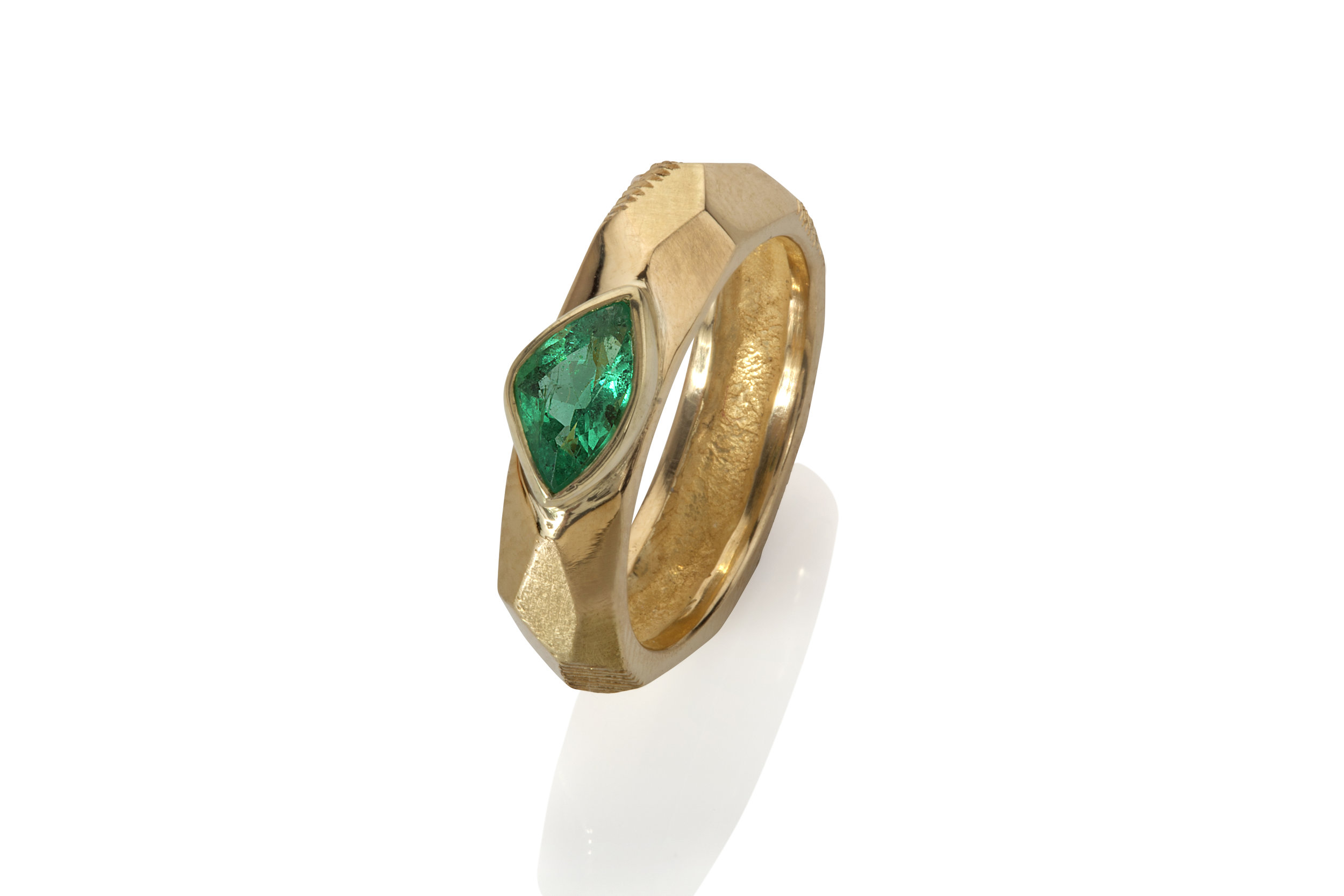 Emma Farquharson 18ct gold faceted emerald ring.jpg