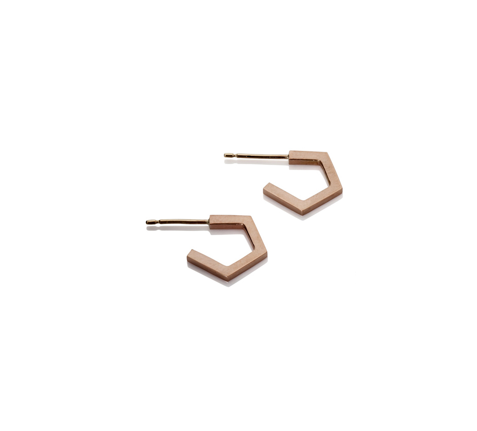 Emma Farquharson small rose gold pentagon hoop earrings .jpg
