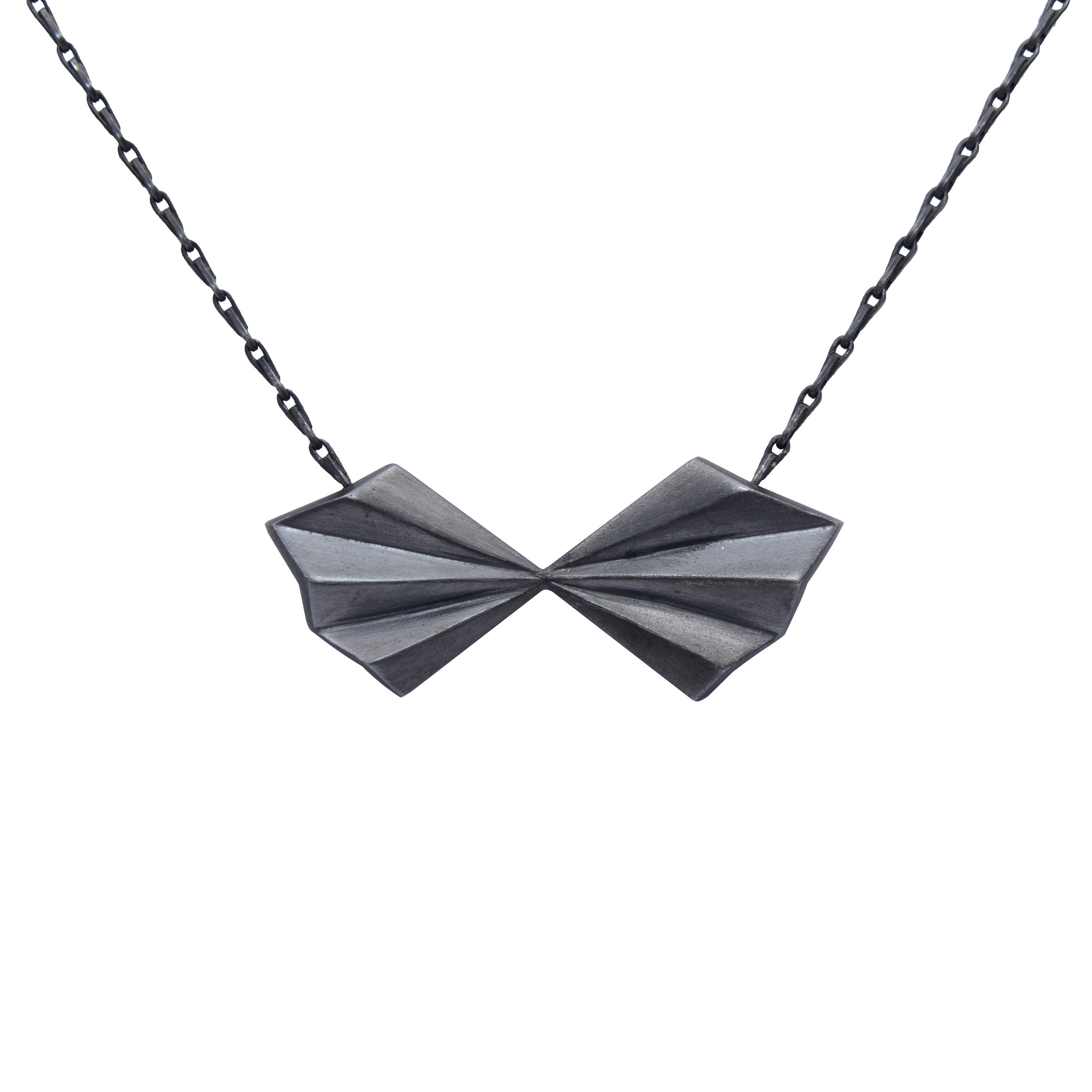 Alice Barnes, Black Pleated Bow Necklace.jpg