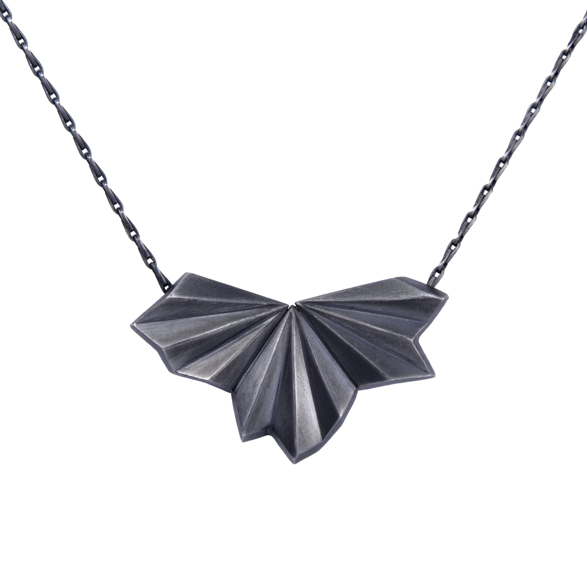 Alice Barnes, Black Pleated Fan Necklace.jpg