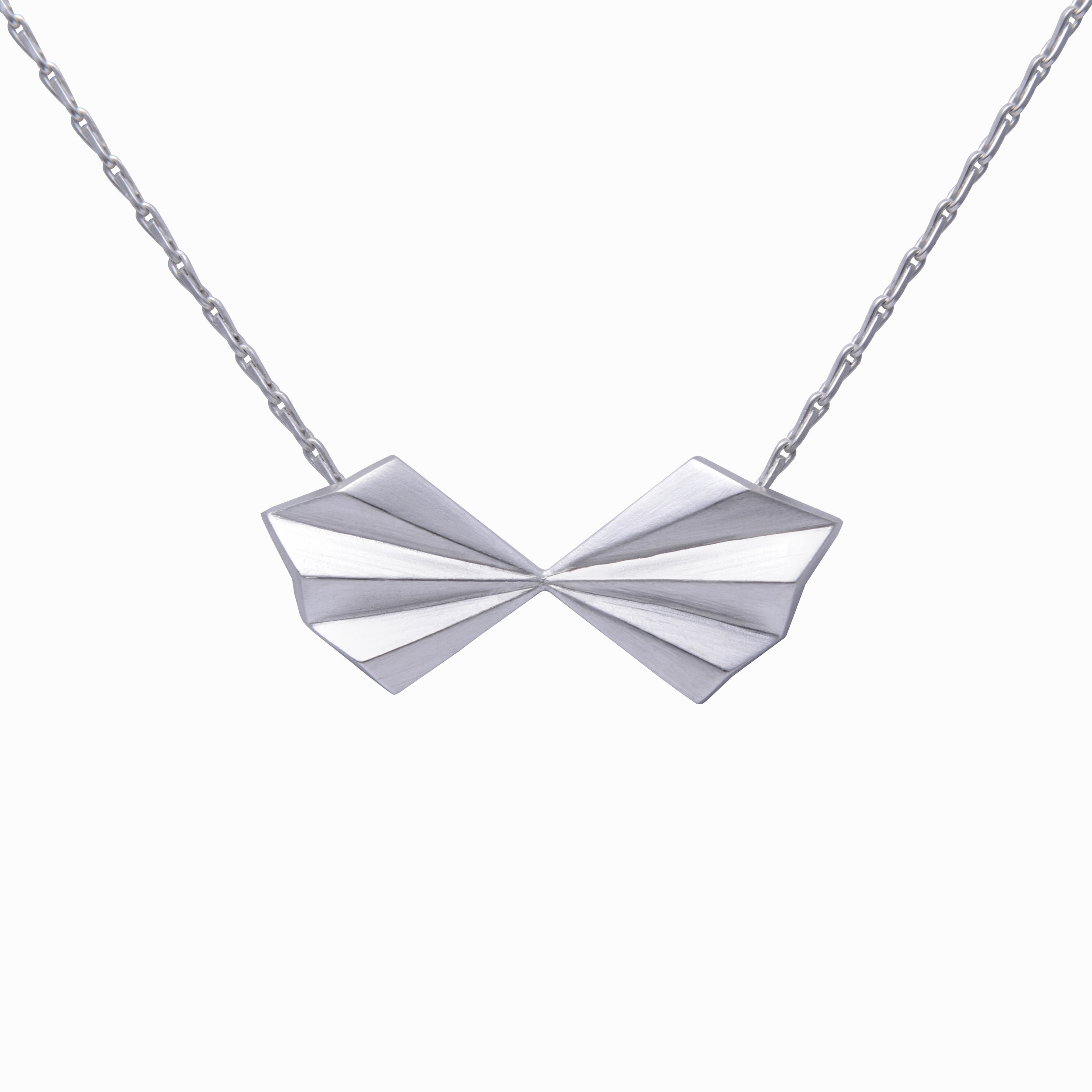 Alice Barnes, Silver Pleated Bow Necklace.jpg