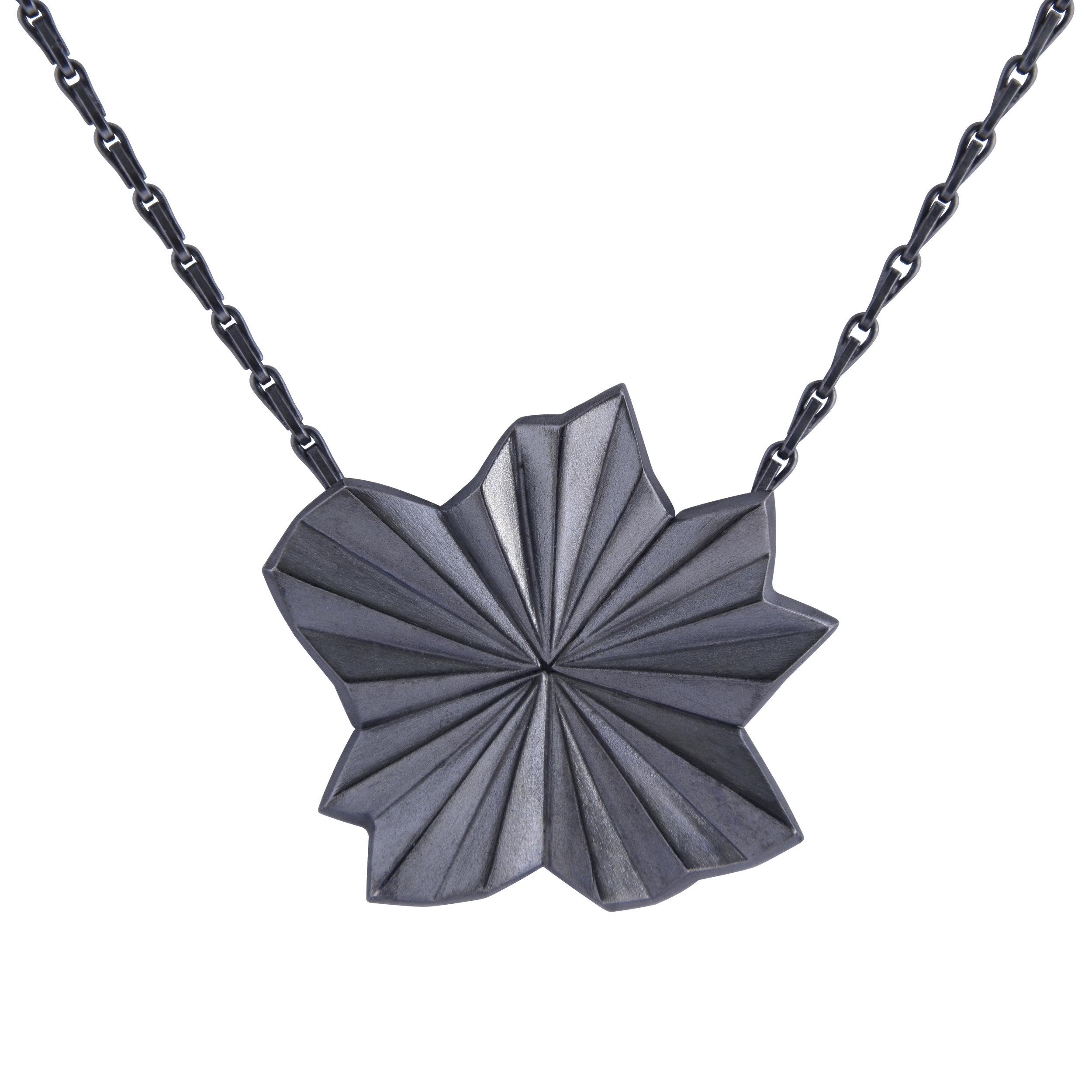 Alice Barnes, Black Pleated Star Necklace.jpg
