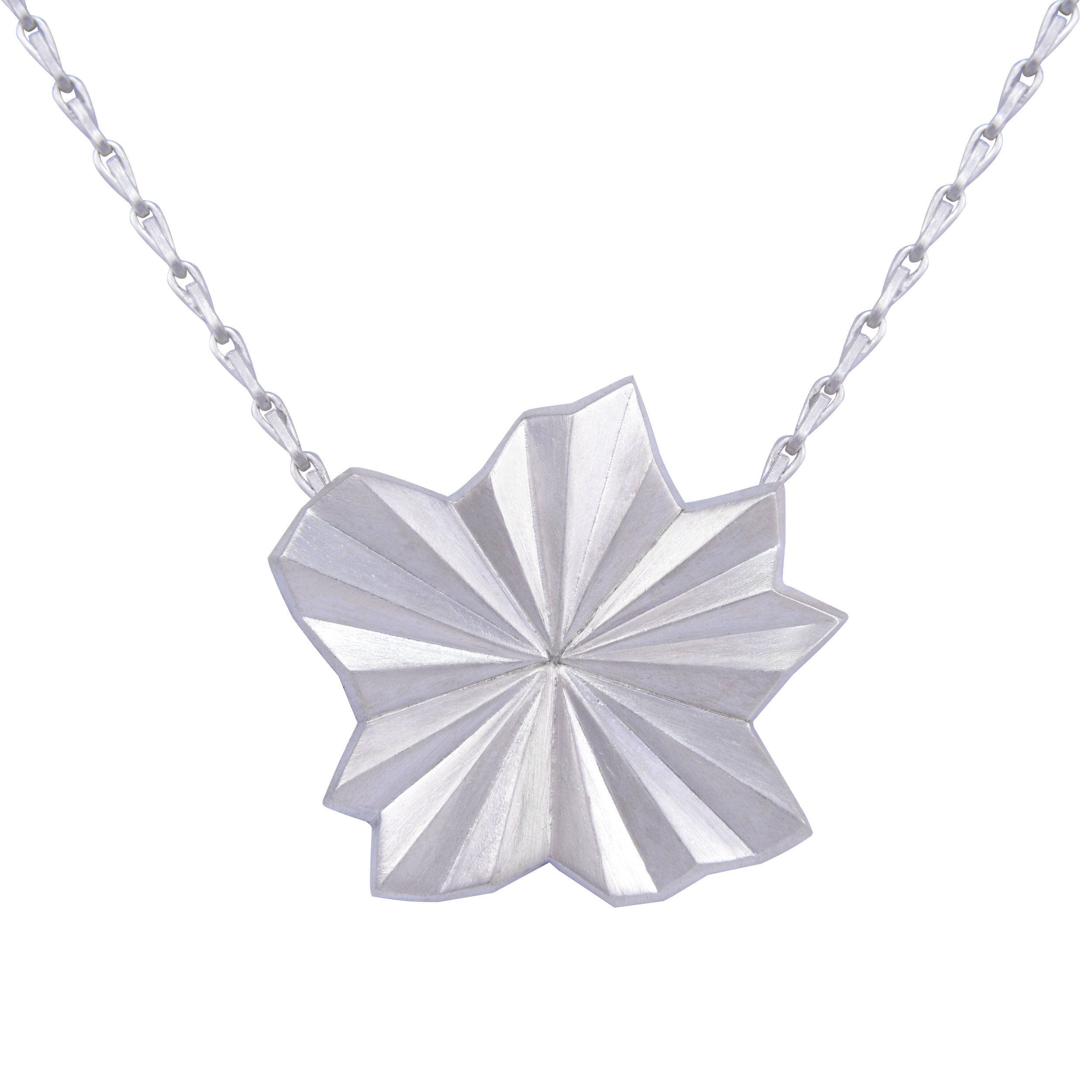 Alice Barnes, Silver Pleated Star Necklace.jpg