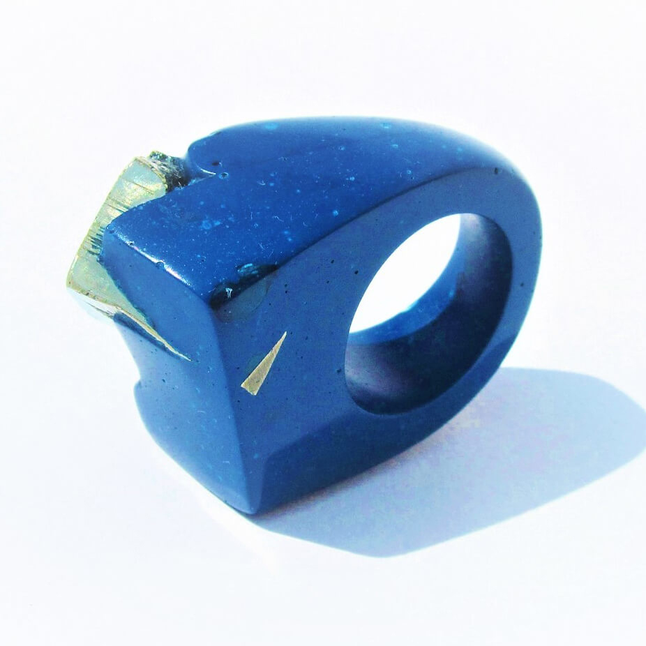 """Jade Mellor """"Hewn"""" ring blue resin and pyrite"""