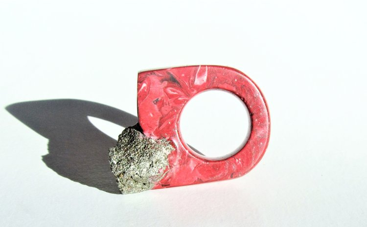 One-of-a-kind marbled resin and pyrite ring by Jade Mellor