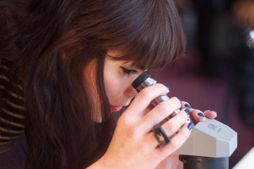 Jade Mellor researching meteorites in a museum