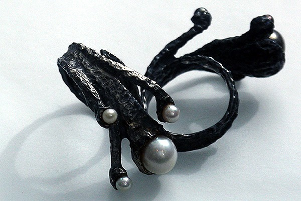 Oxidised silver and pearl rings by Kostadinos Karanikas, more pieces available at Gill wing Jewellery
