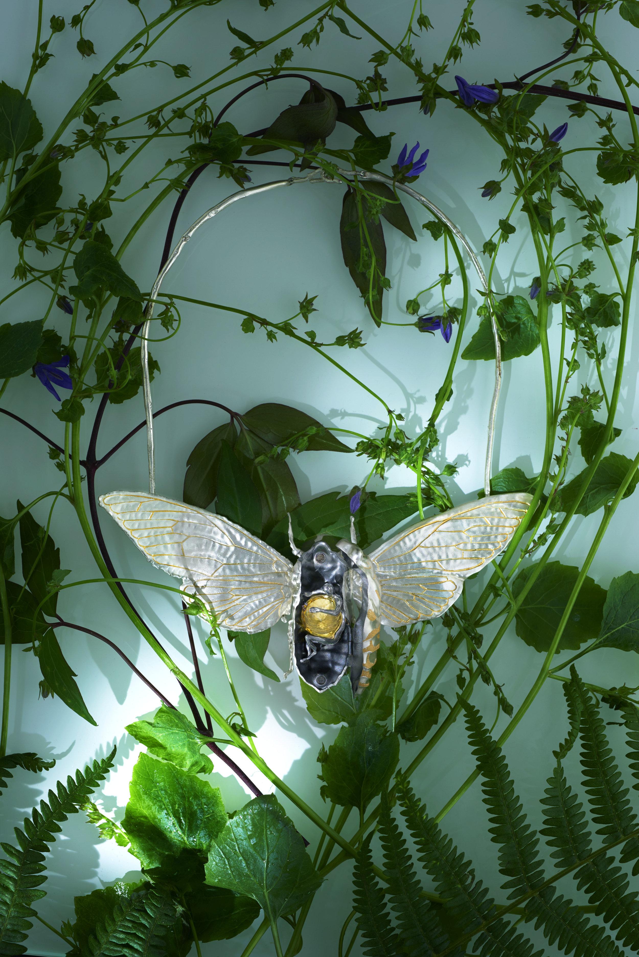 Cicada Neckpiece open (silver & 22ct gold).jpg