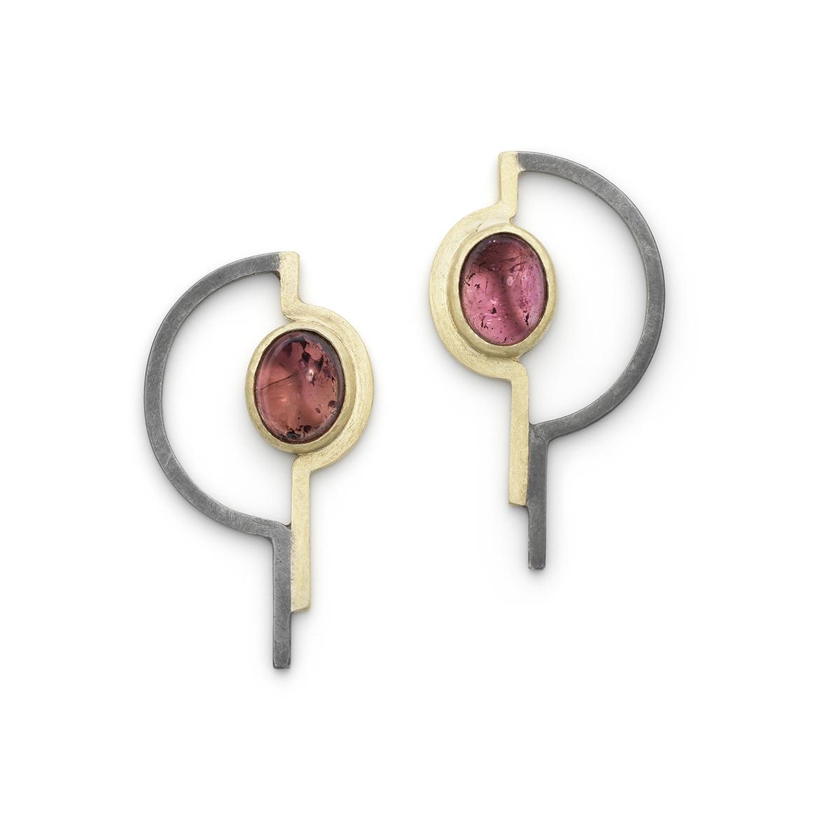 Ellen Monaghan Pink tourmaline semi curl earrings oxi siver 18kt gold.jpg