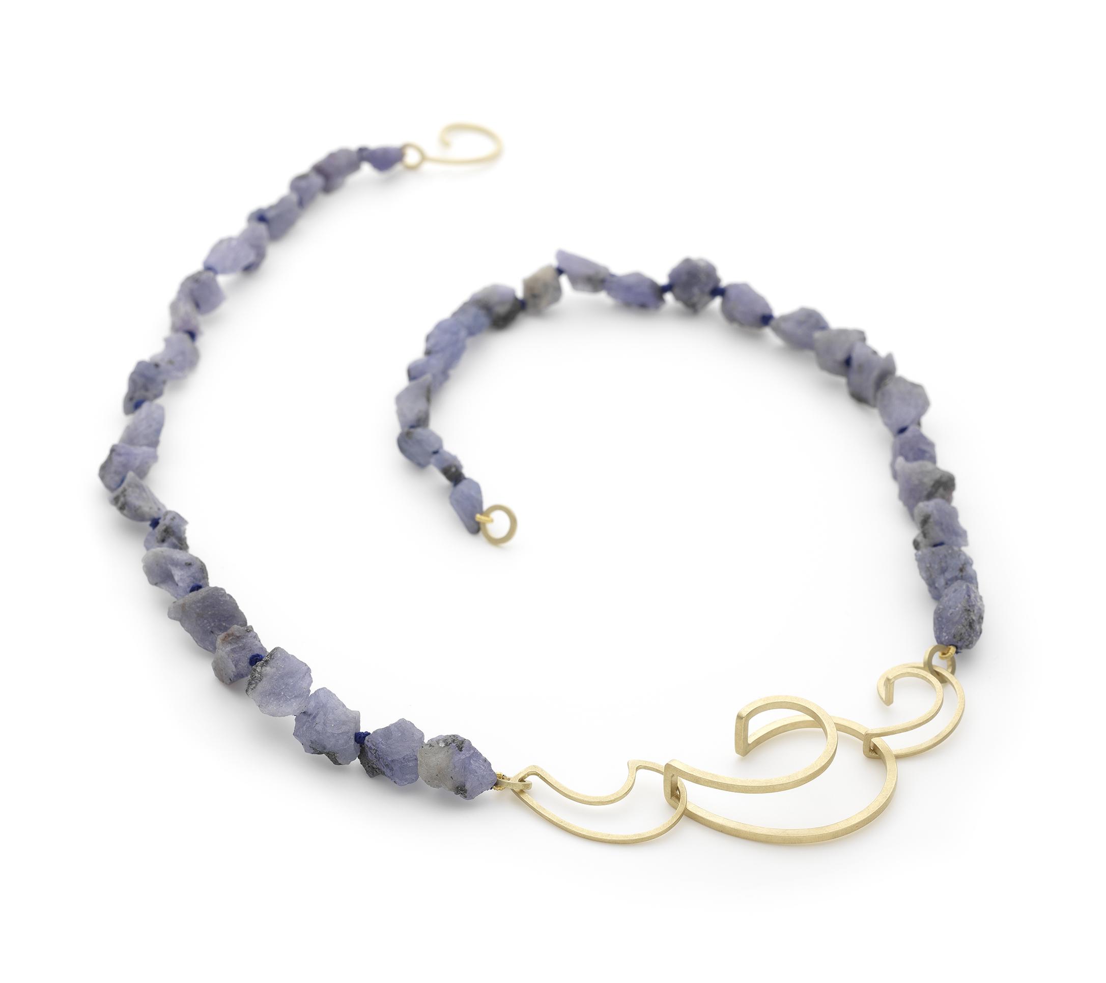 Ellen Monaghan Tanzanite 18ct Gold Wave Curl necklace.jpg