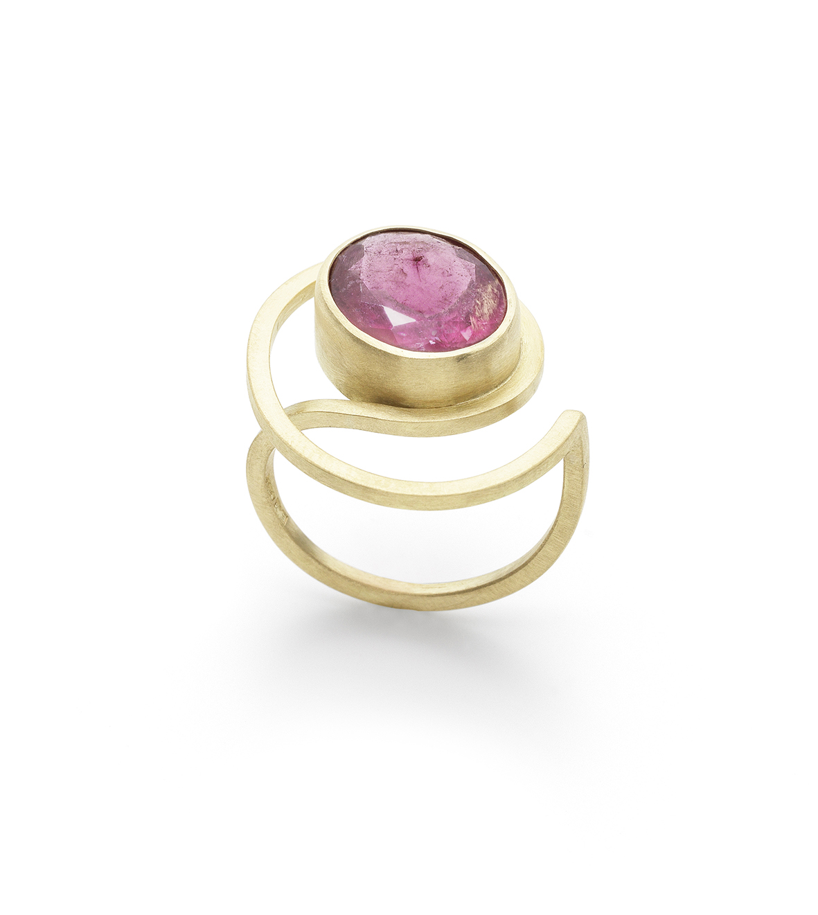 Ellen Monaghan Rubellite Tormaline 18kt gold Curl ring.jpg